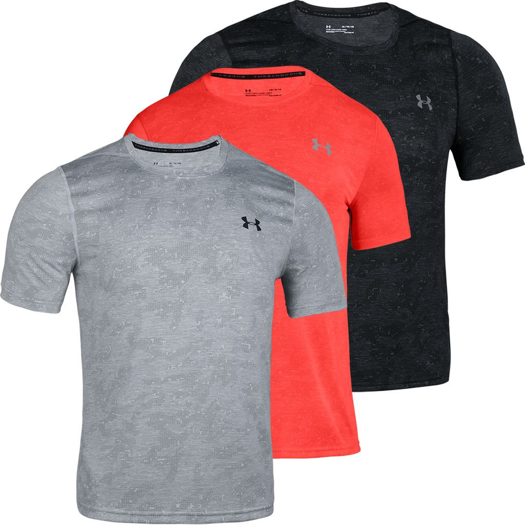 3338395fd07b Details about Under Armour Mens UA Threadborne FTD Printed Short Sleeve  Fitted Stretch T-Shirt