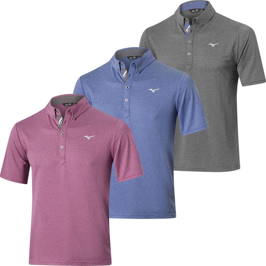 Mizuno Golf 2018 Mens Melange Drylite Short Sleeve Performance Golf Polo Shirt Ebay