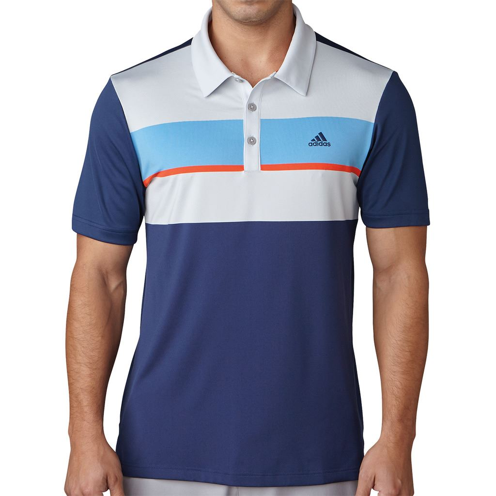 Adidas golf 2017 climacool chest block polo mens for Mens xs golf shirts