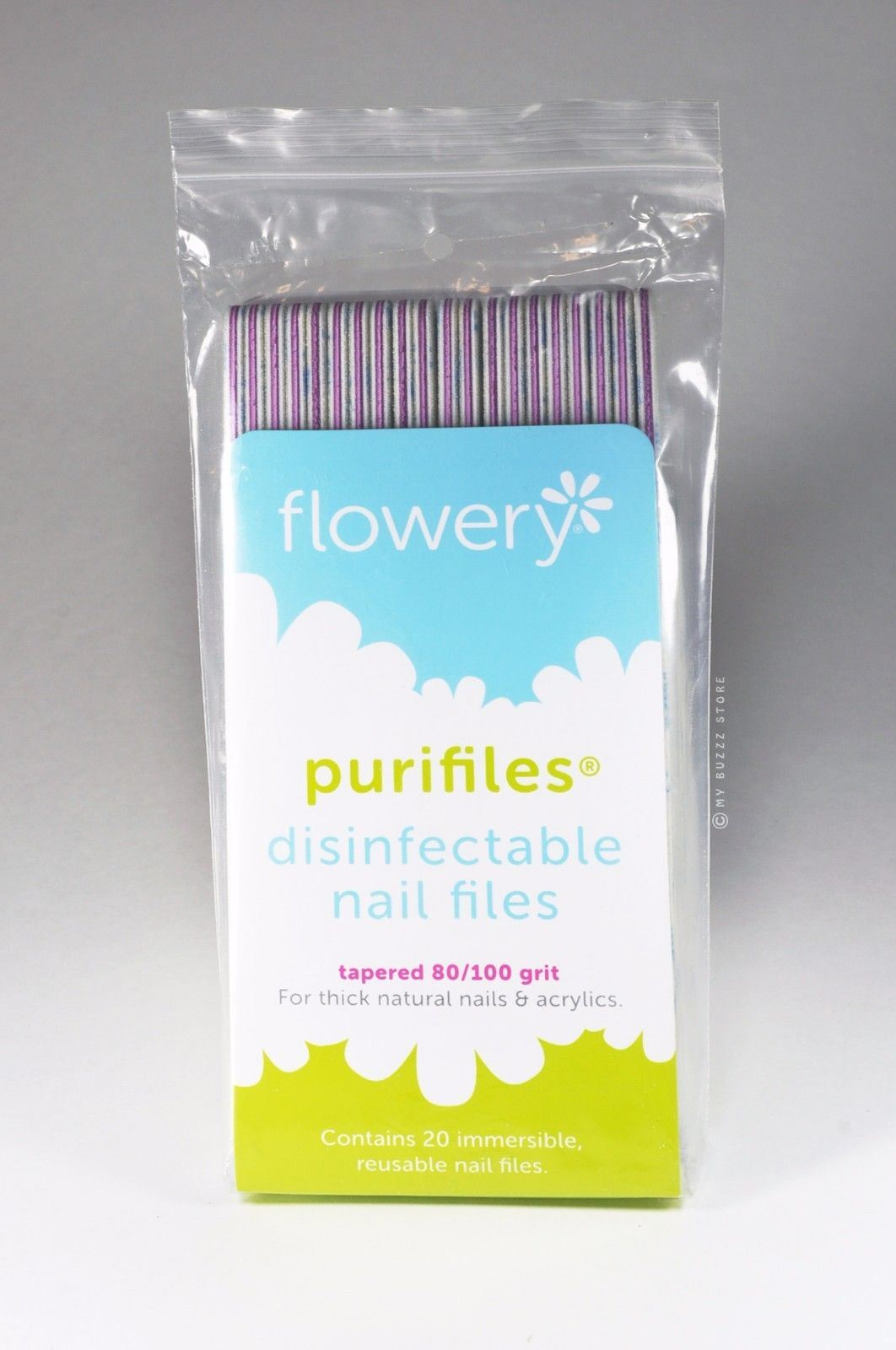 Flowery Purifiles Disinfect Nail Files (80/100 grit) - 20/pack ...