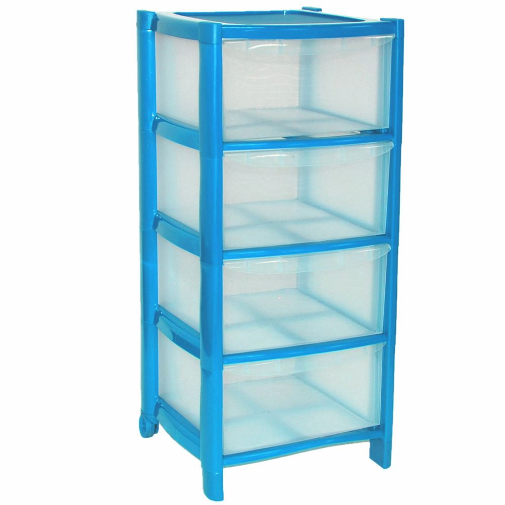 Delightful 4 Drawer Plastic Large Tower Storage Drawers Chest