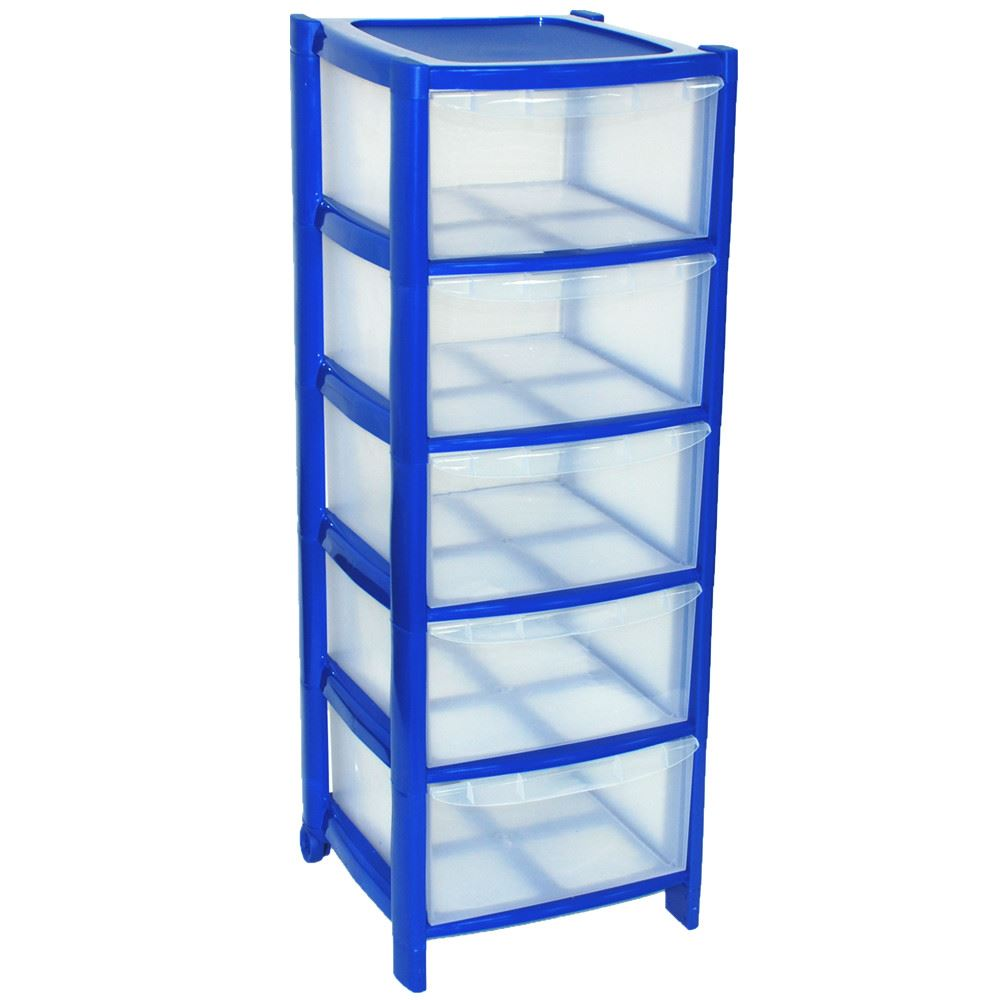 DARK-BLUE-Drawer-Plastic-Tower-Storage-Drawers-Unit-  sc 1 st  eBay & DARK BLUE Drawer Plastic Tower Storage Drawers Unit with Wheels MADE ...