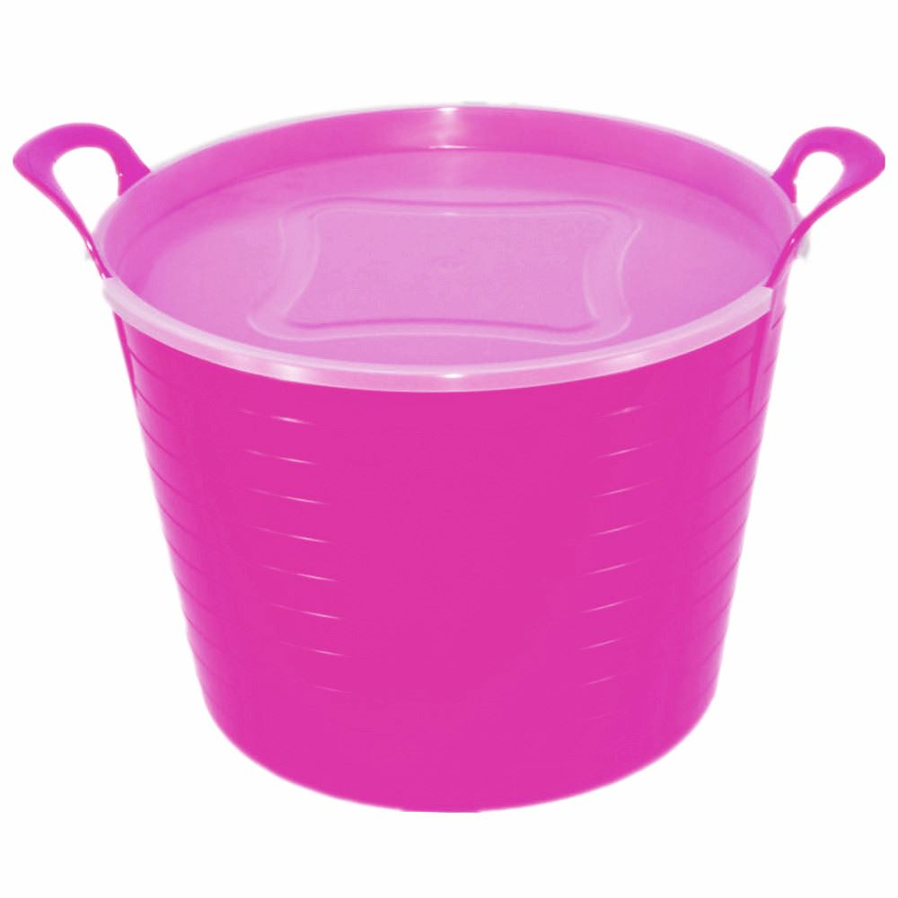 2 x 42 Litre Large Flexi Tub Home Flexible Rubber Bucket with Lid ...