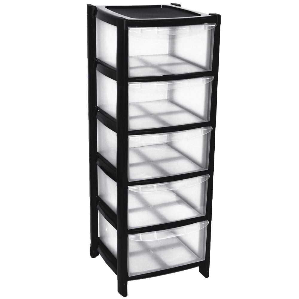 5-Drawer-Plastic-Large-Tower-Office-Storage-Drawers-  sc 1 st  eBay & 5 Drawer Plastic Large Tower Office Storage Drawers Unit with Wheels ...