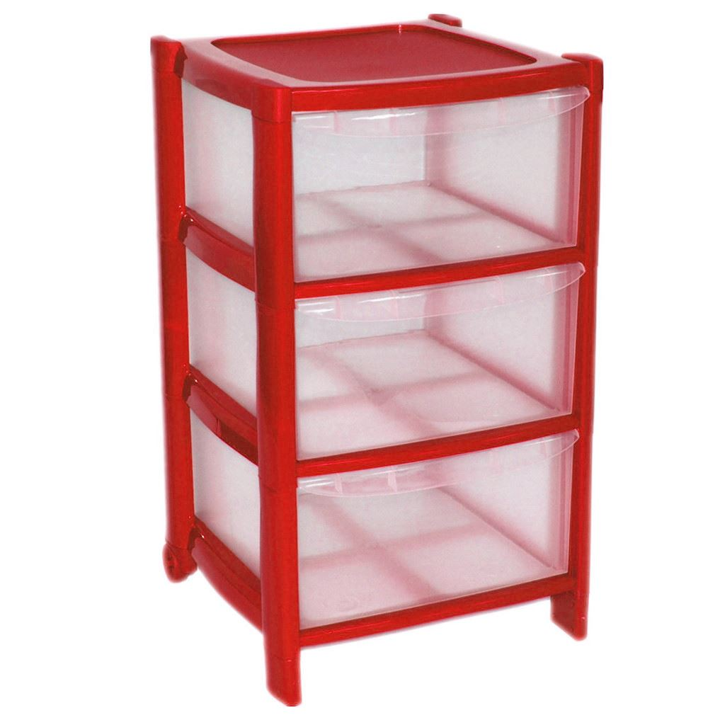 3 Drawer Plastic Large Tower Storage Drawers Chest