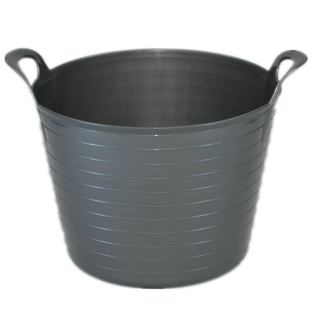 2 x 42 Litre Large Flexi Tub Home Flexible Rubber Storage Bucket ...