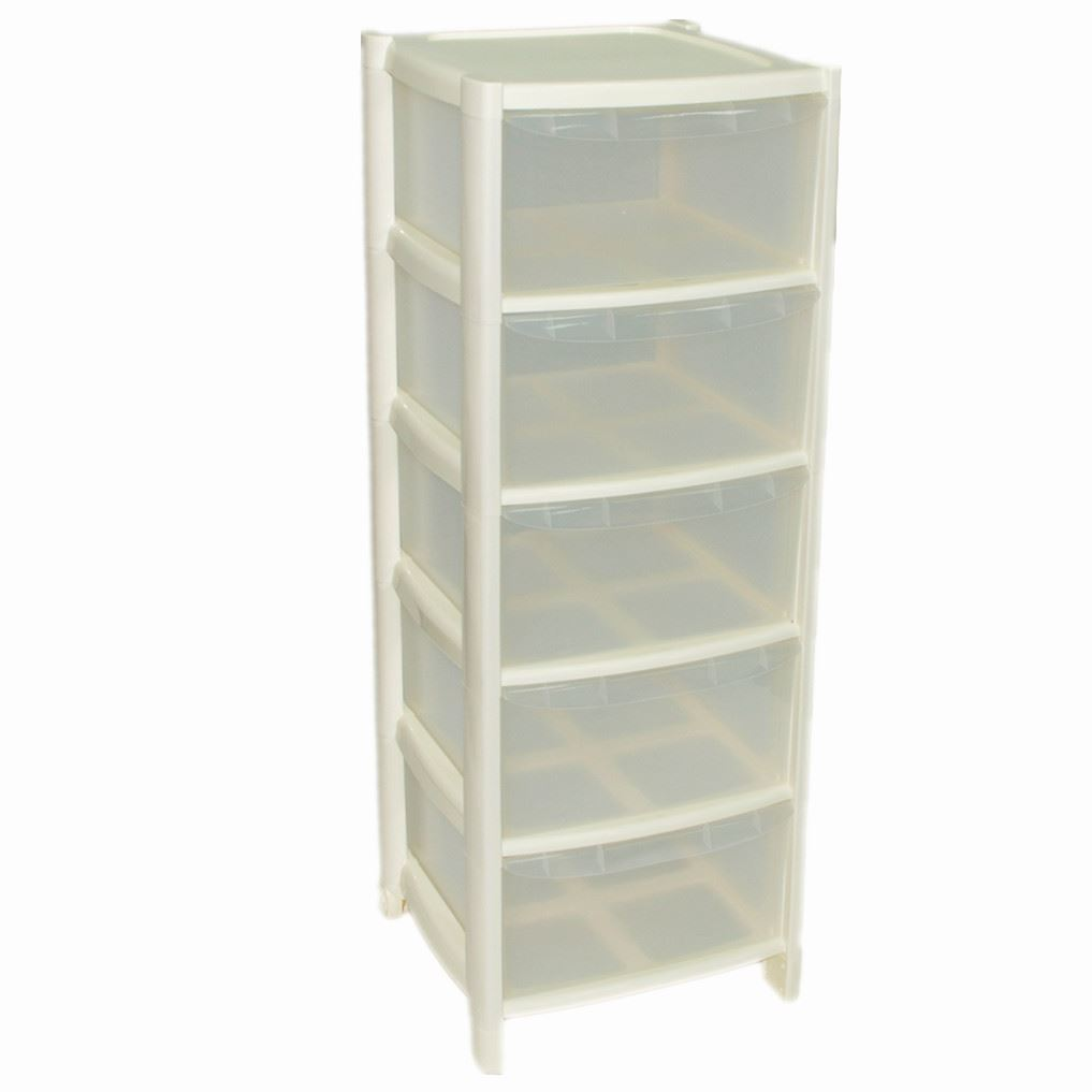 ... Picture 2 of 2  sc 1 st  eBay & 5 Drawer Plastic Large Tower Office Storage Drawers Unit With Wheels ...