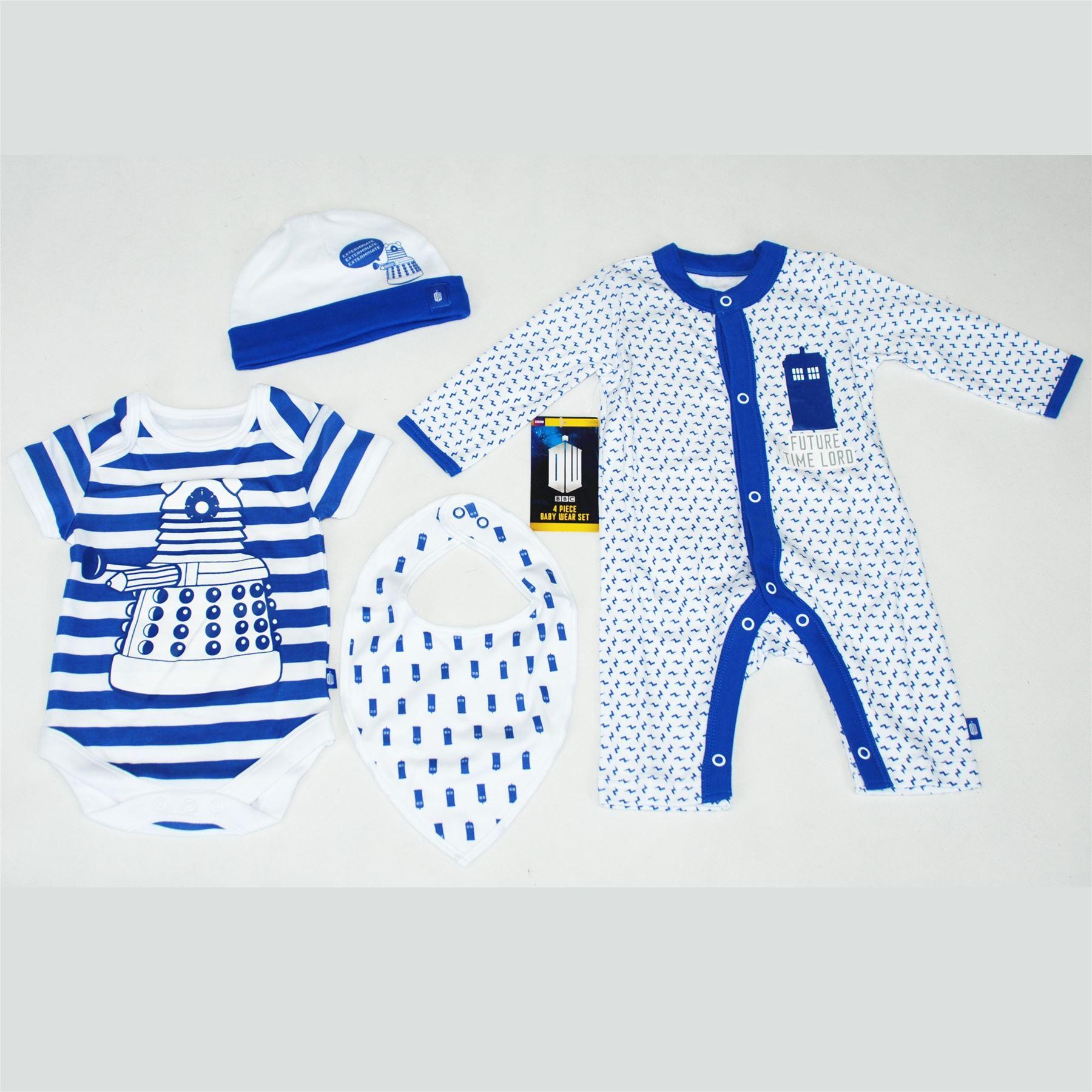 4 Piece Set BBC Official Merchandise DOCTOR WHO DW Boys Kids Children 4 Piece Starter Set Hat Bib Bodysuit Baby Grow 100/% Cotton