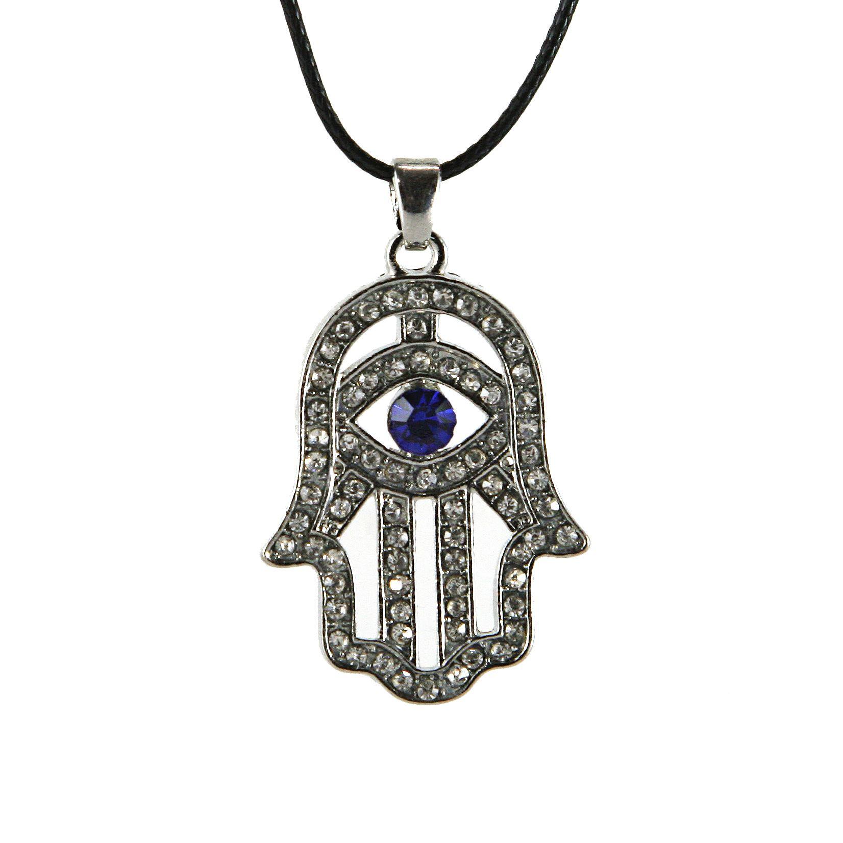 New Hamsa Necklace lucky charm Silver Plated Pendant Jewish Judaica Kabbalah