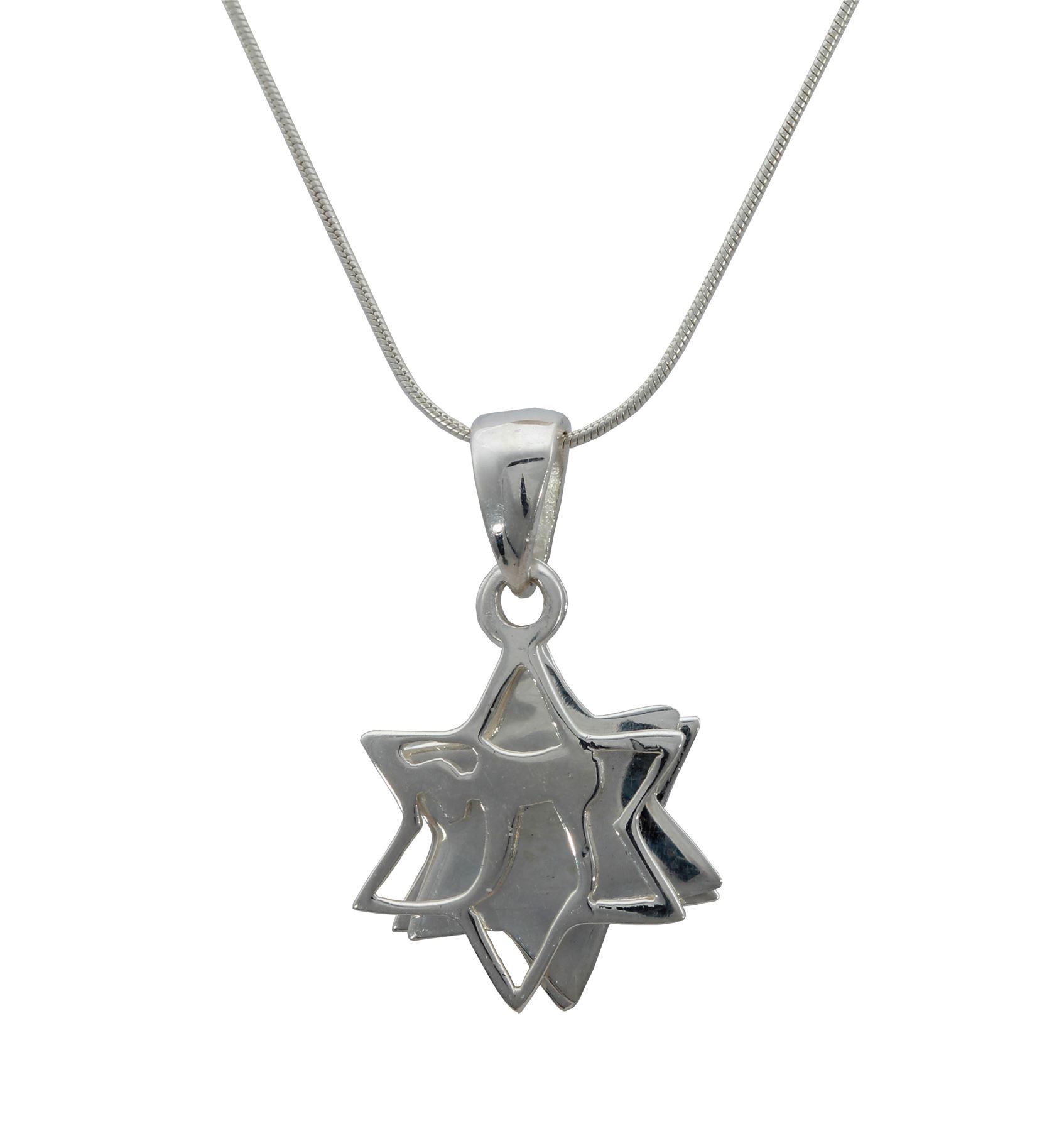 925 Silver Israel Star of David magen Shield crystals Necklace holy judaica Gift