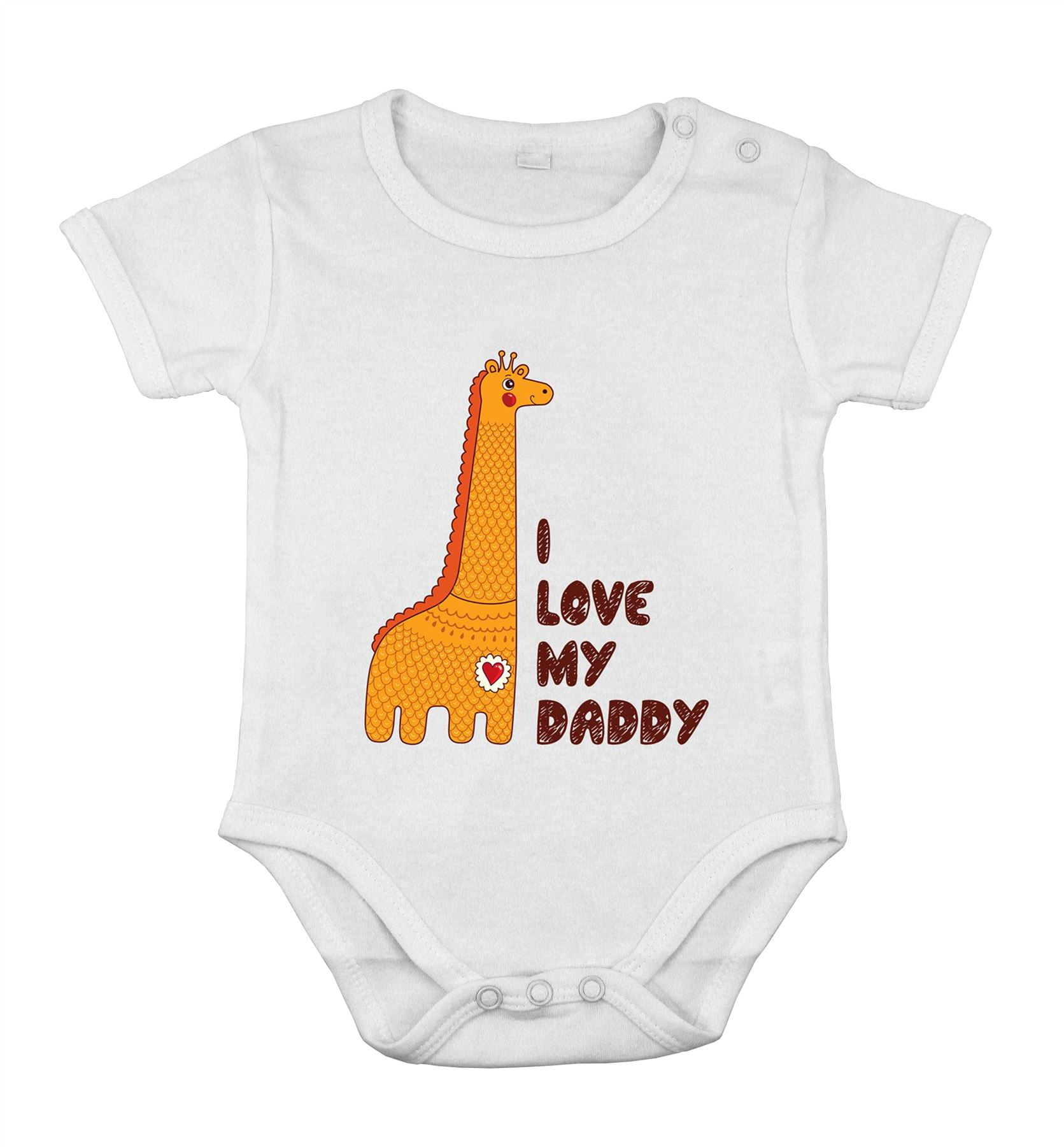 I love My Daddy safari giraf Funny Cute Baby Newborn short e piece