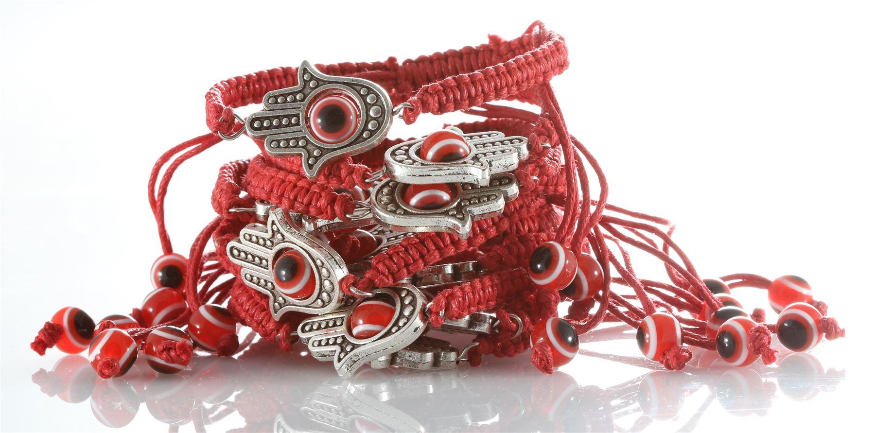 Pulsera De Oro Rojo Cuerda Kabbalah Suerte contra mal de ojo para el éxito