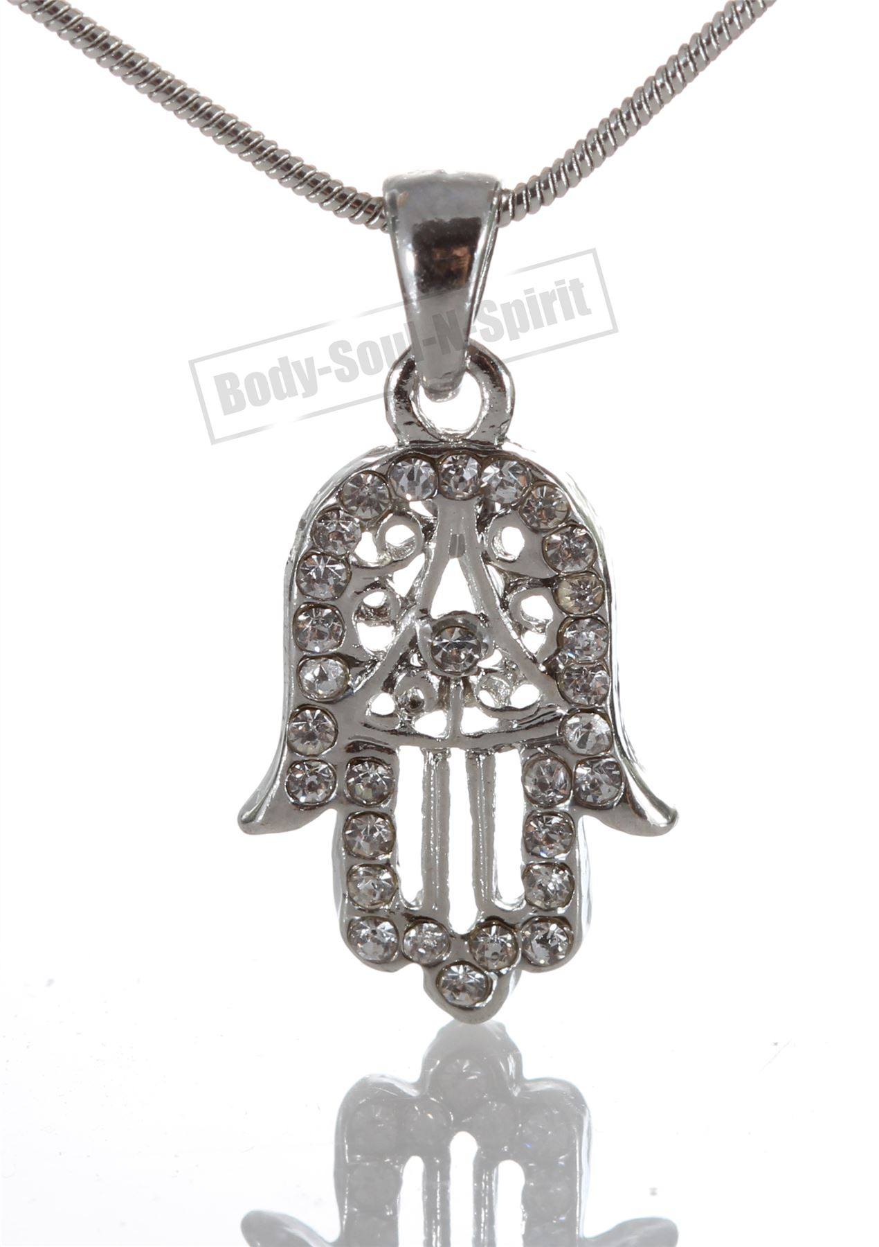 Jewish lucky charm hamsa necklace silver plated pendant judaica the hamsa arabic meaning five is an ancient hand shaped symbol of protection originating in the middle east predating judaism christianity and islam aloadofball