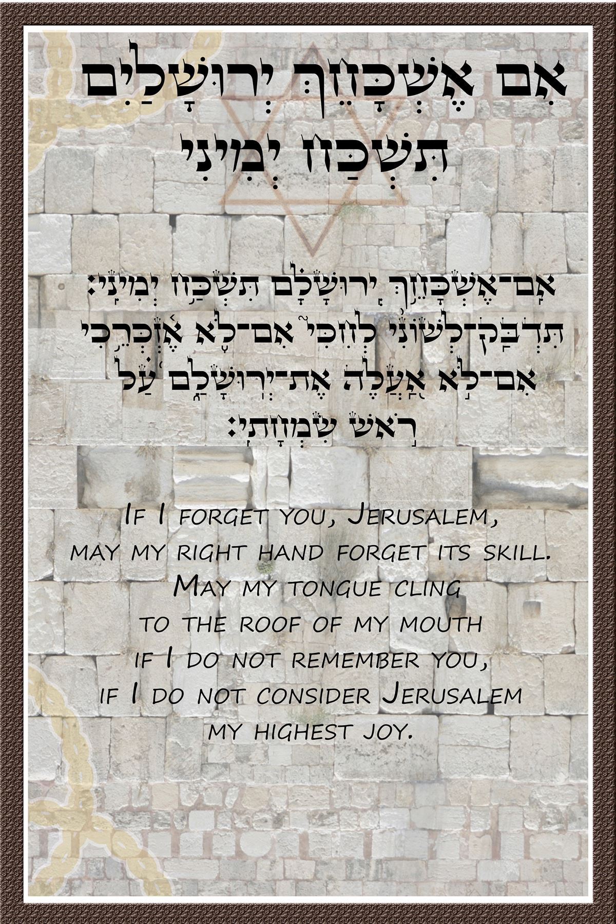Jerusalem Home Blessing Decor Poster Judaica Gift Wall Hanging If I Forget You