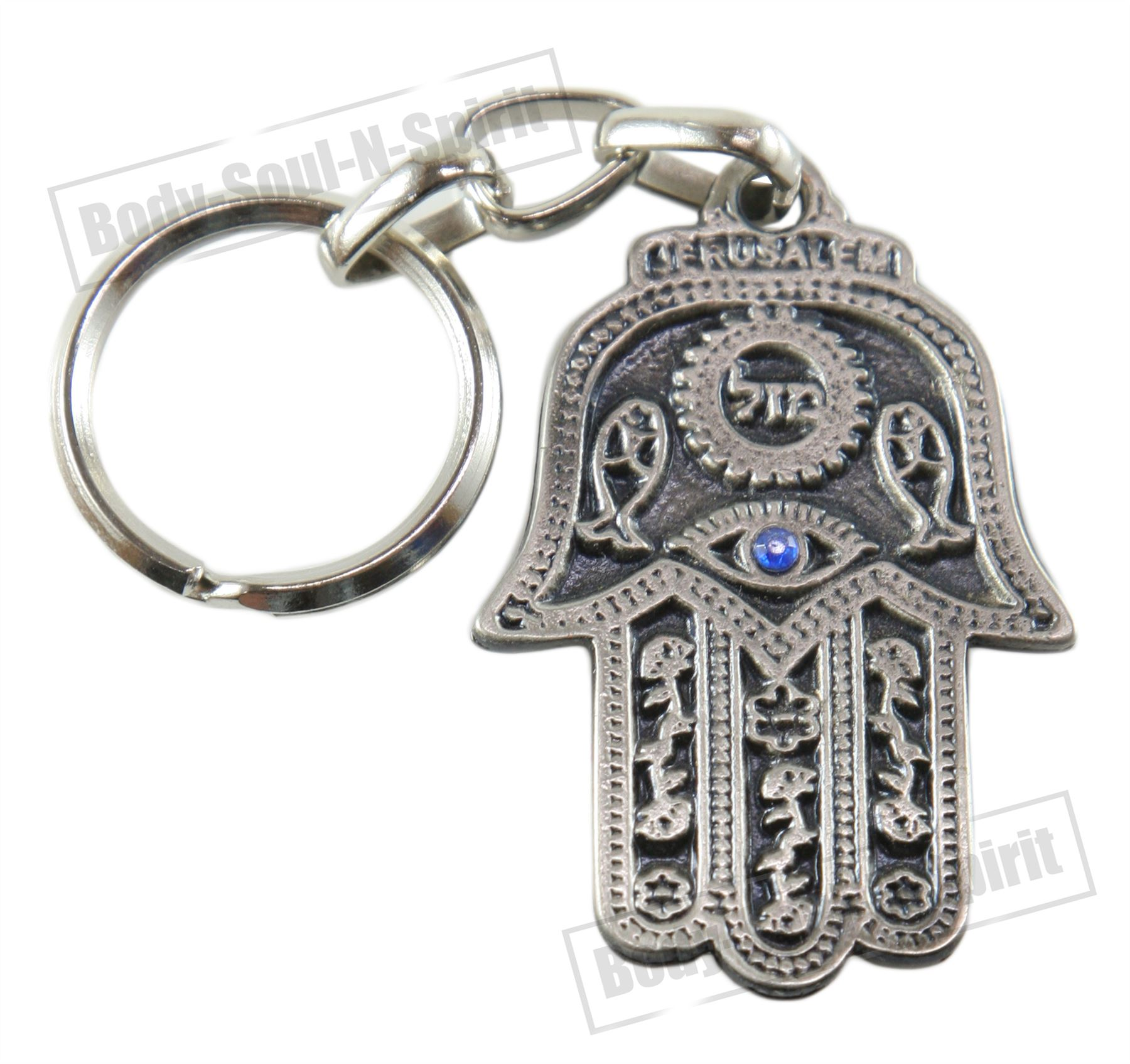 Mazal Lucky Hamsa Key Chain Ring Evil Eye Jewish Judaica Amulet