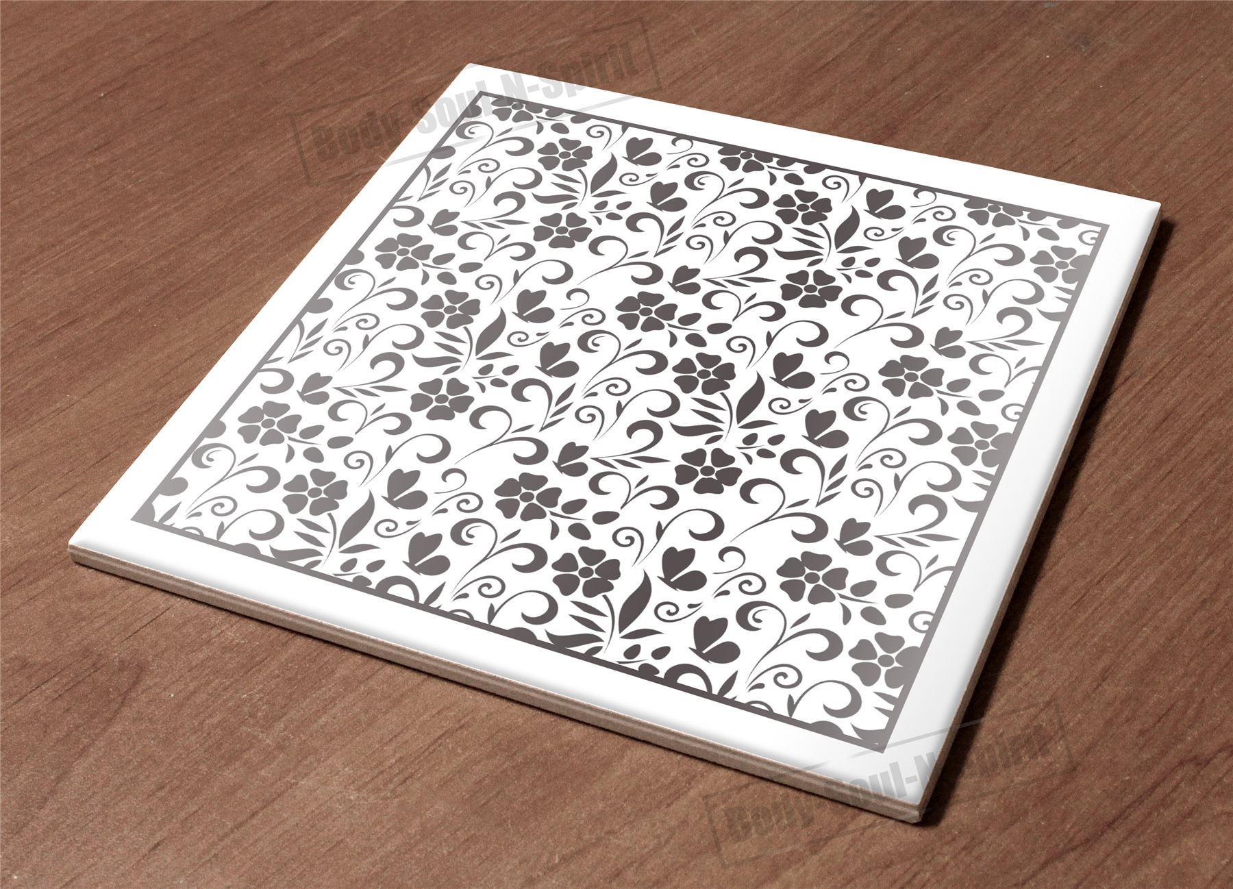 Ceramic Hot Plate Kitchen Trivet Holder Floral Sketch Paint Decor Design Gift