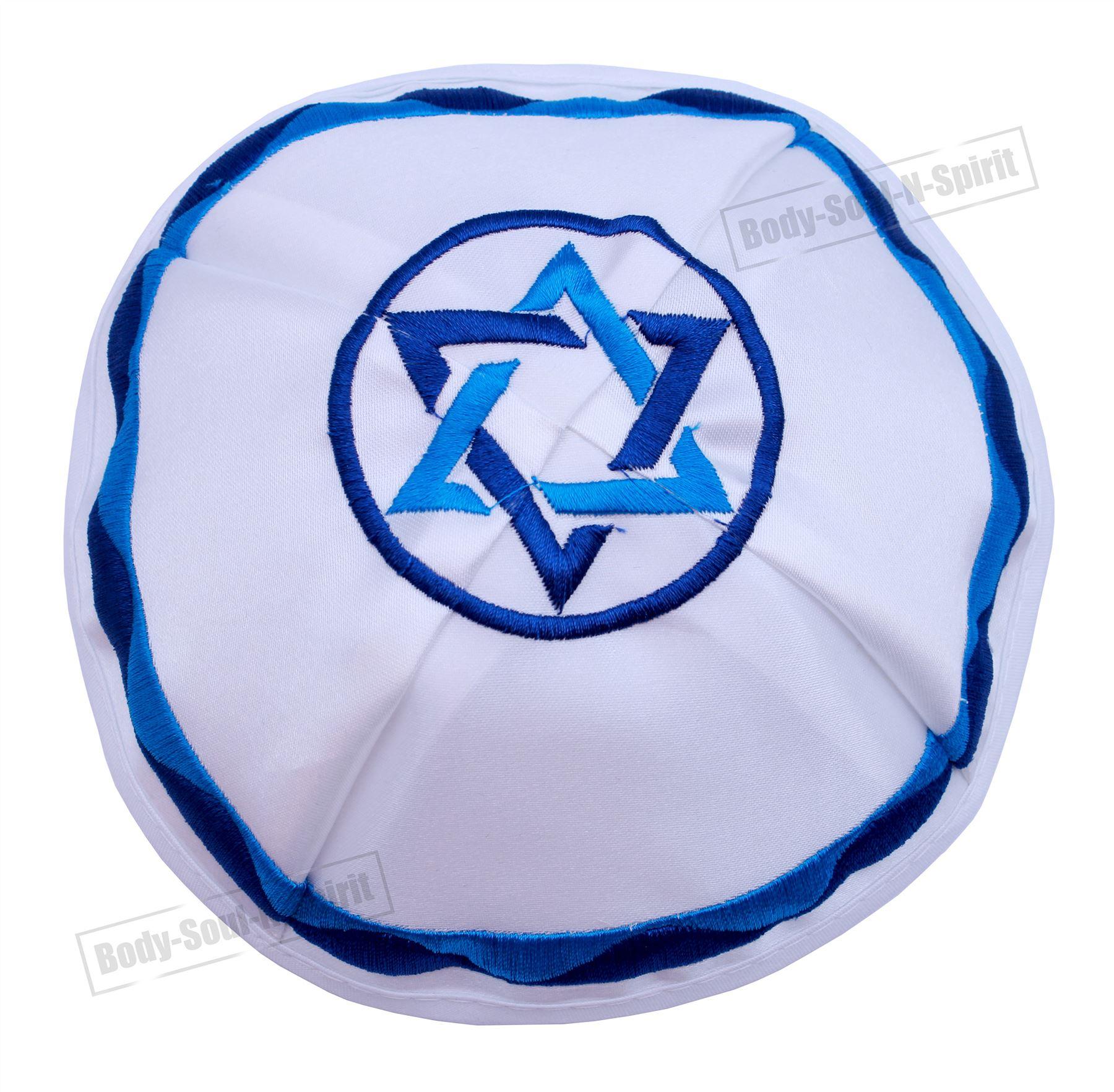 Bestickter Davidstern Satin Kippa ethnisch jüdische Jarmulke Israel Schädeldecke