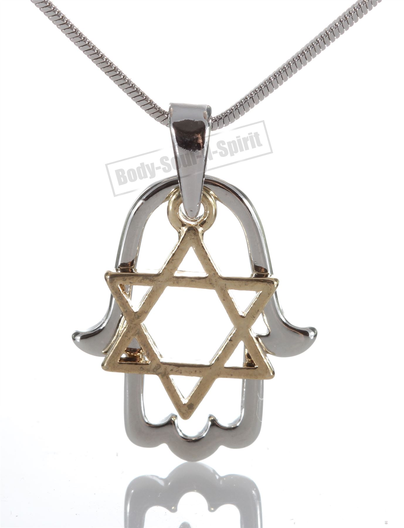 Silver plated hamsa necklace pendant with star of david jewish the hamsa arabic meaning five is an ancient hand shaped symbol of protection originating in the middle east predating judaism christianity and islam aloadofball Gallery