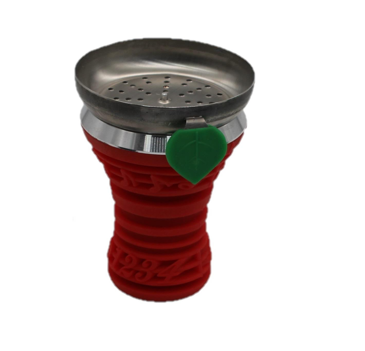 Red Silicone Metal Wind Covered Hookah Narguile Accordion Bowl Music Design Tray