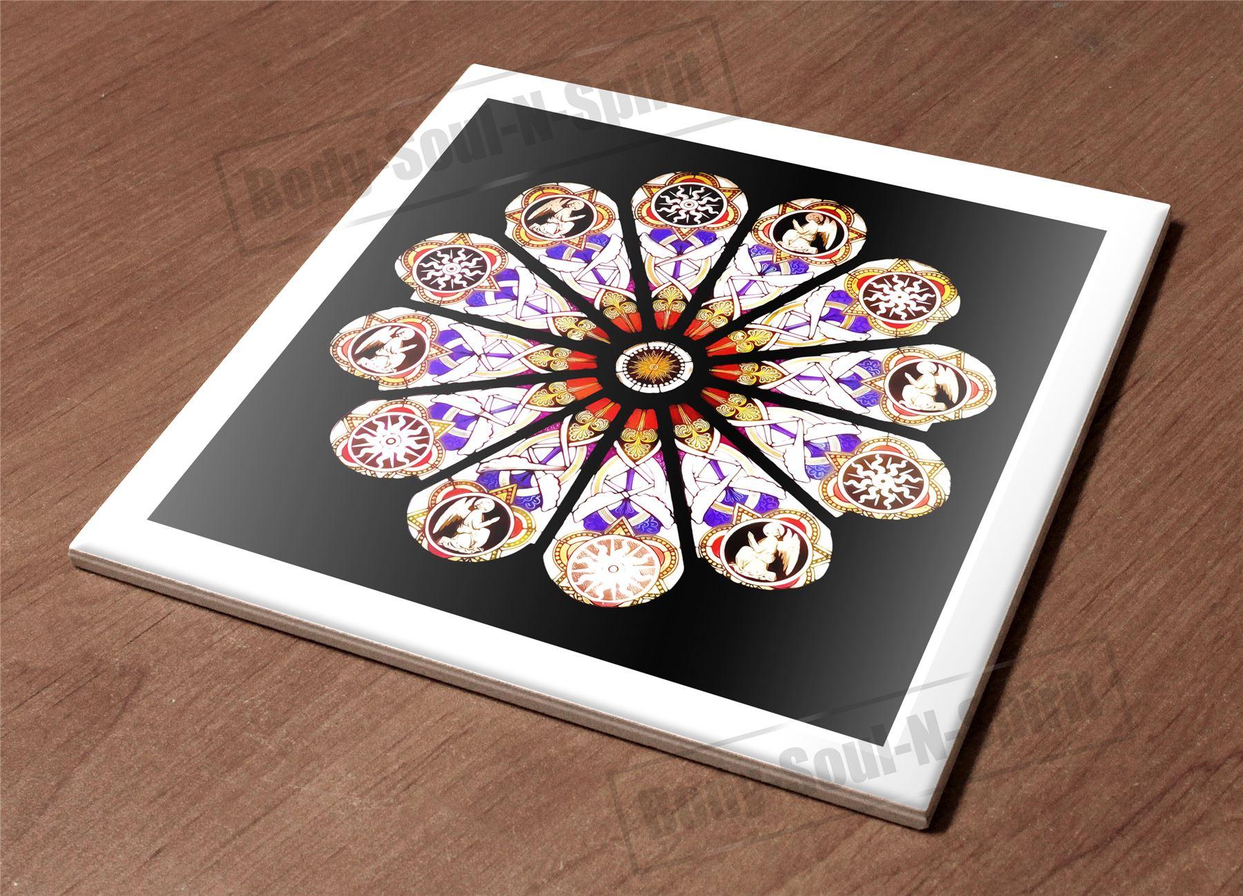 Kitchen Trivet Holder Ceramic Tile Hot Plate Zodiac Paint Art Decor Design Gift