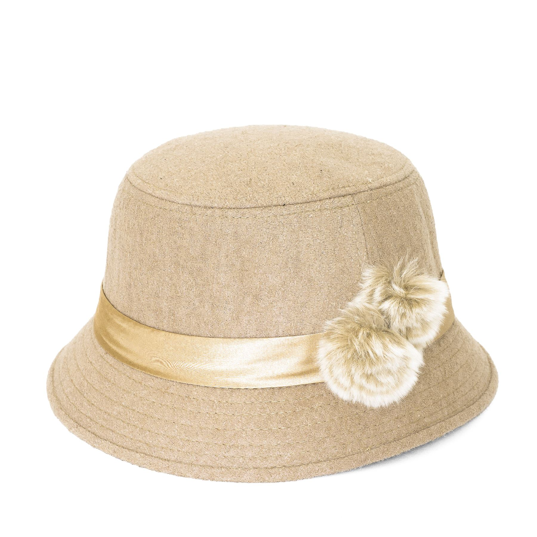 e2602225a02 Plain Band with Fur Flower Cloche-Bucket Hat  Picture 2 of 5 ...