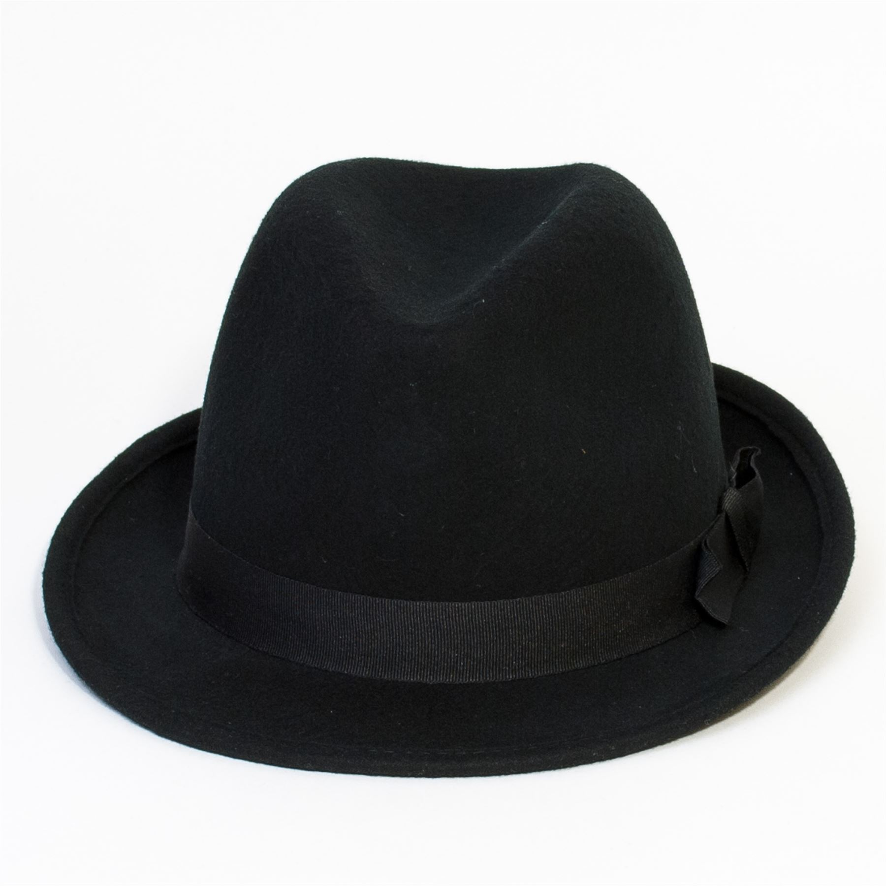 97528c69e3b Black Felt Trilby Hat with Grosgrain Ribbon