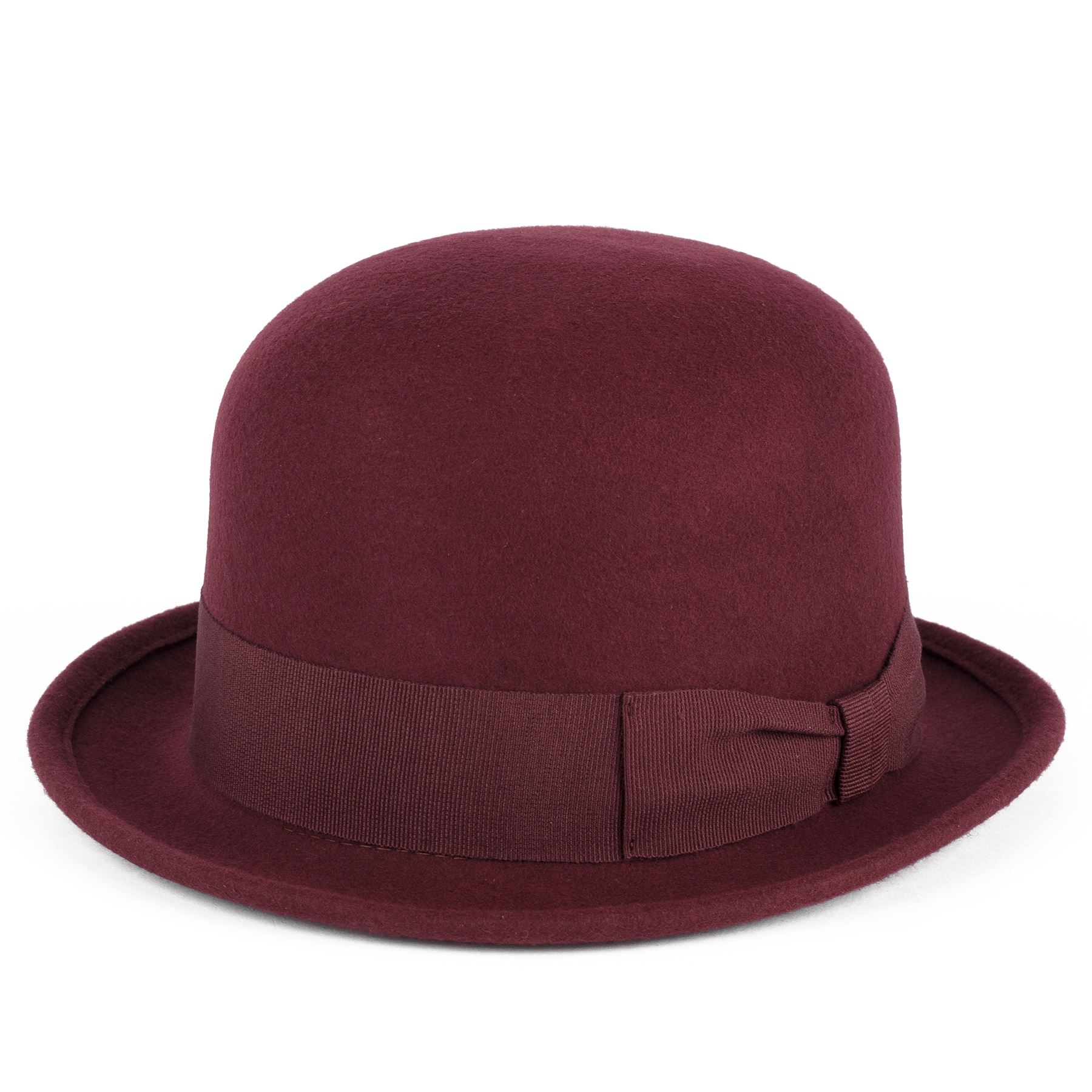 100 Wool Bowler Hat With Grosgrain Band Handmade in Italy Burgundy S ... 06110ffde5d