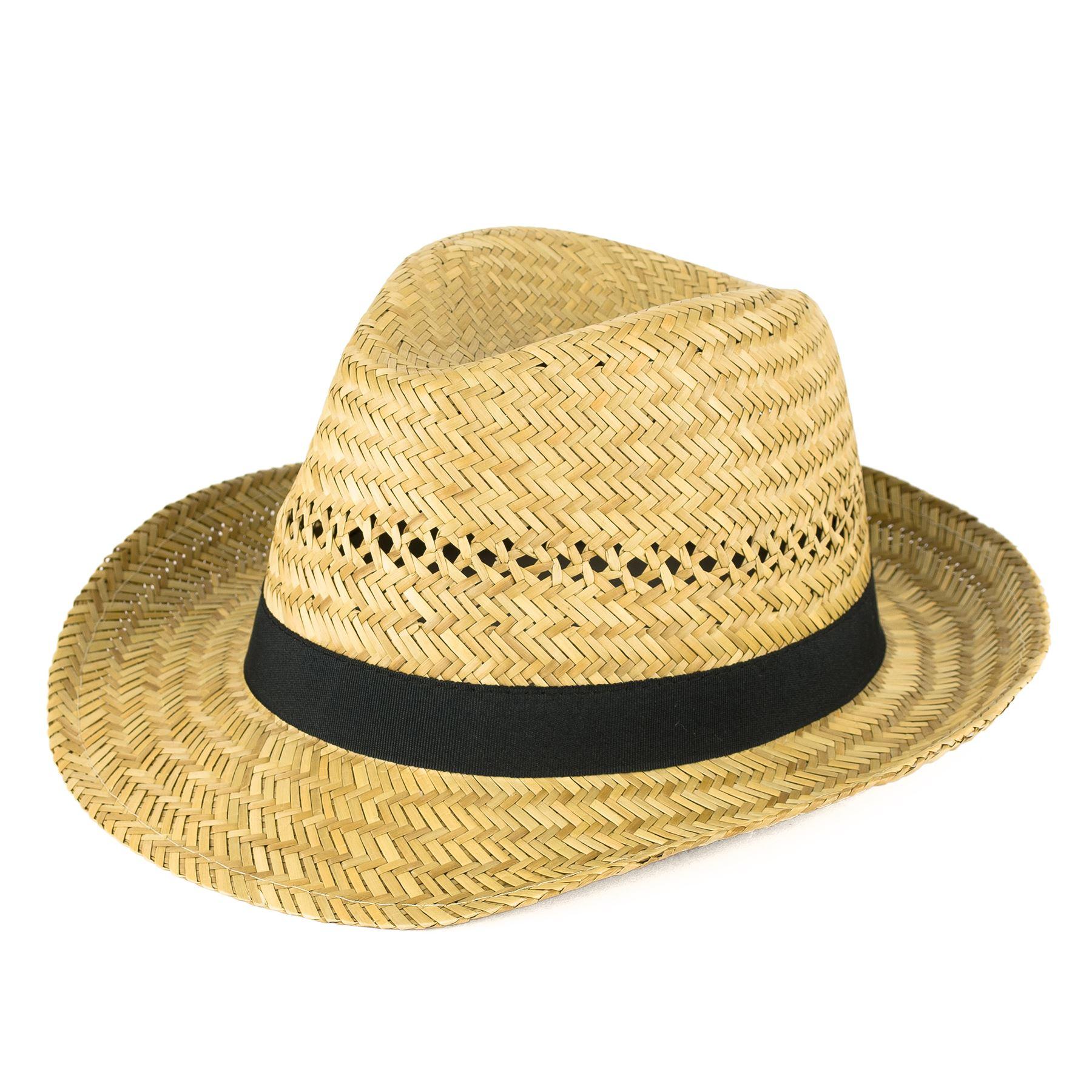 Straw Fedora Hat with Black Grosgrain Band  ce0ef7e2fbaa