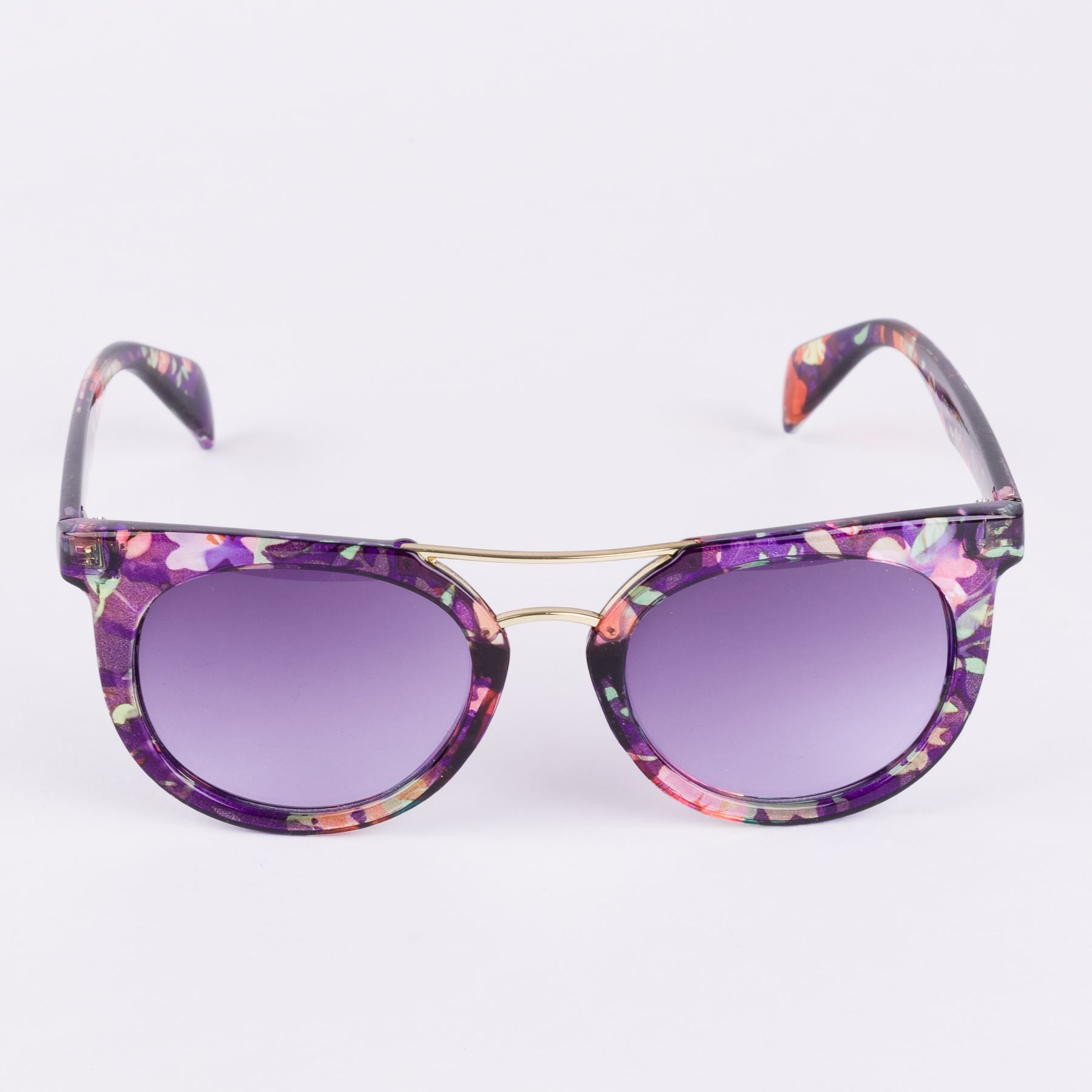 Retro Style Horn-Rimmed Sunglasses With Metal Top Bar