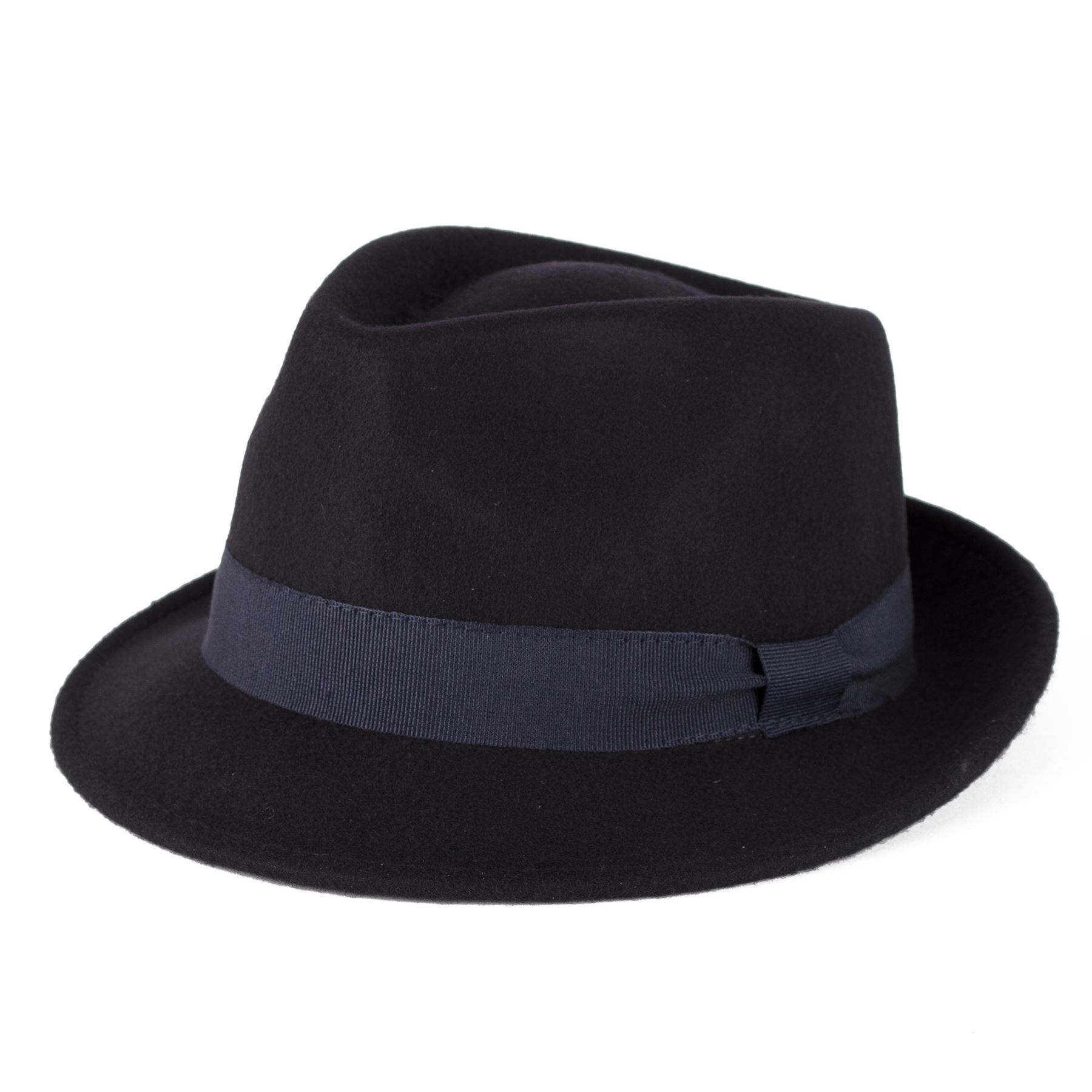100 Wool Trilby Hat With Grosgrain Band Handmade in Italy Navy L (59 ... b69890bb4a6