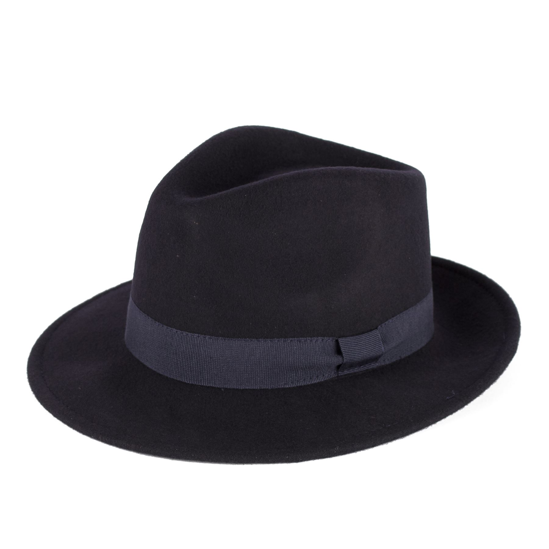 100 Wool Felt Fedora Hat With Grosgrain Band Handmade in Italy Navy ... cd6f82e40539