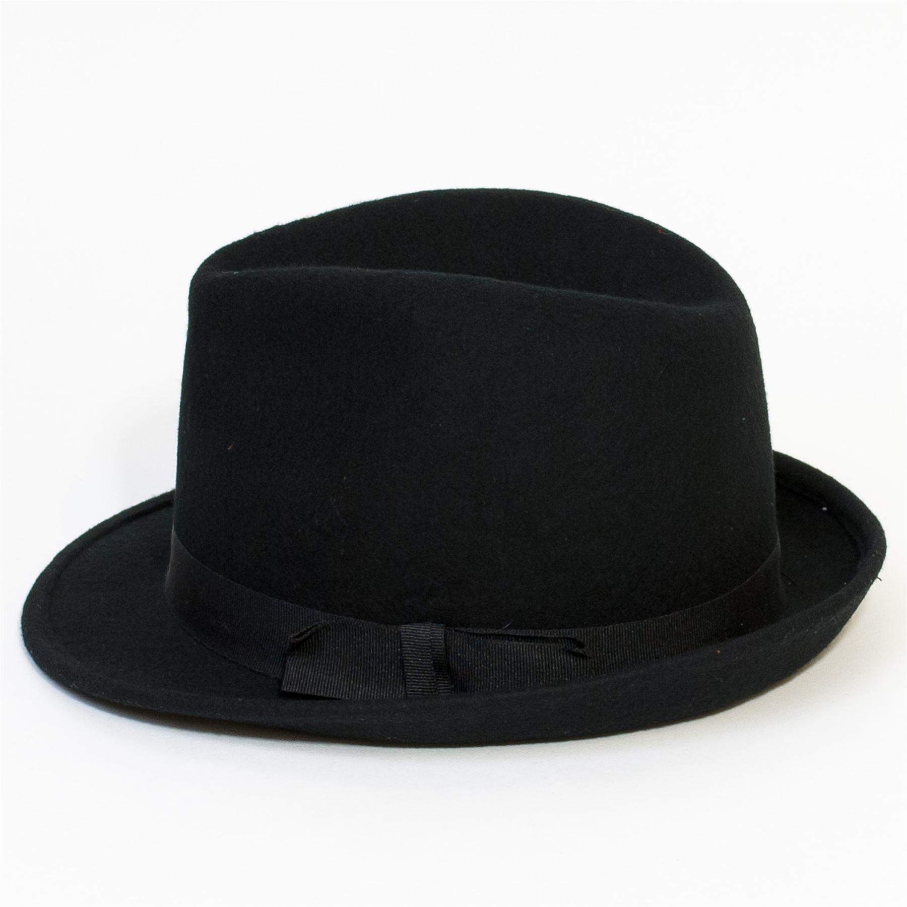 4b41ead718c Black-Felt-Trilby-Hat-with-Grosgrain-Ribbon thumbnail 11
