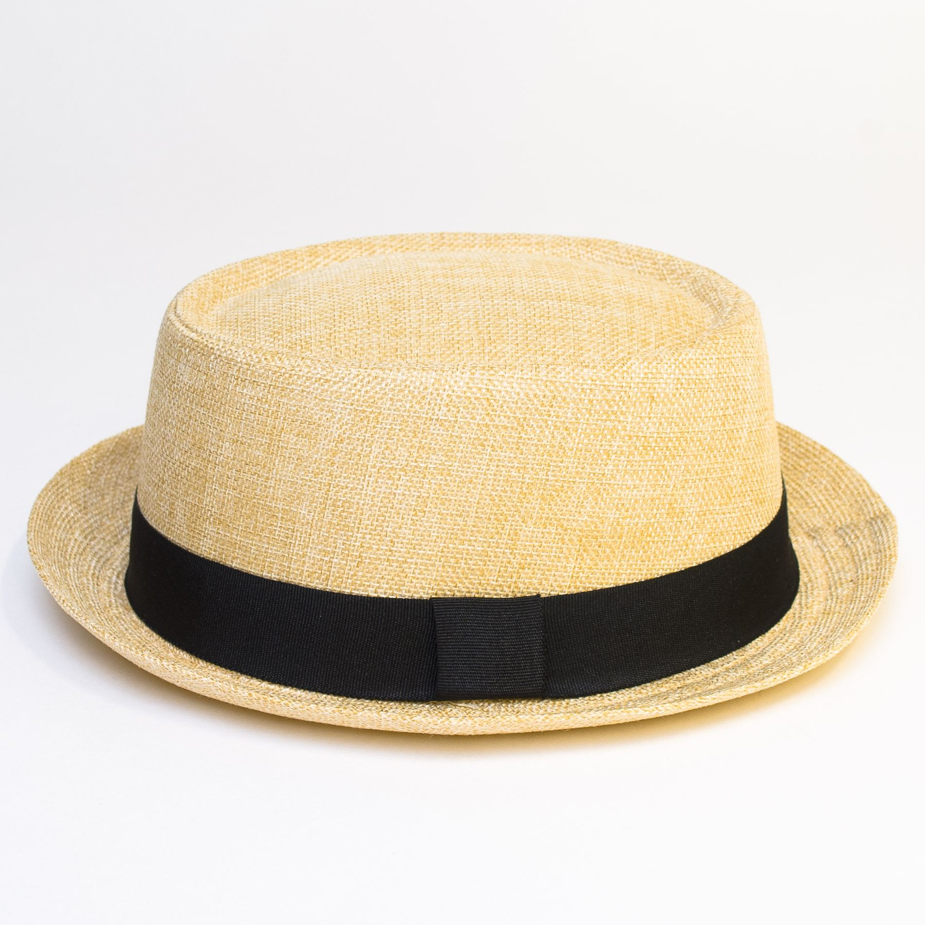 Pork-Pie-Hat-with-Black-Grosgrain-Band thumbnail 3