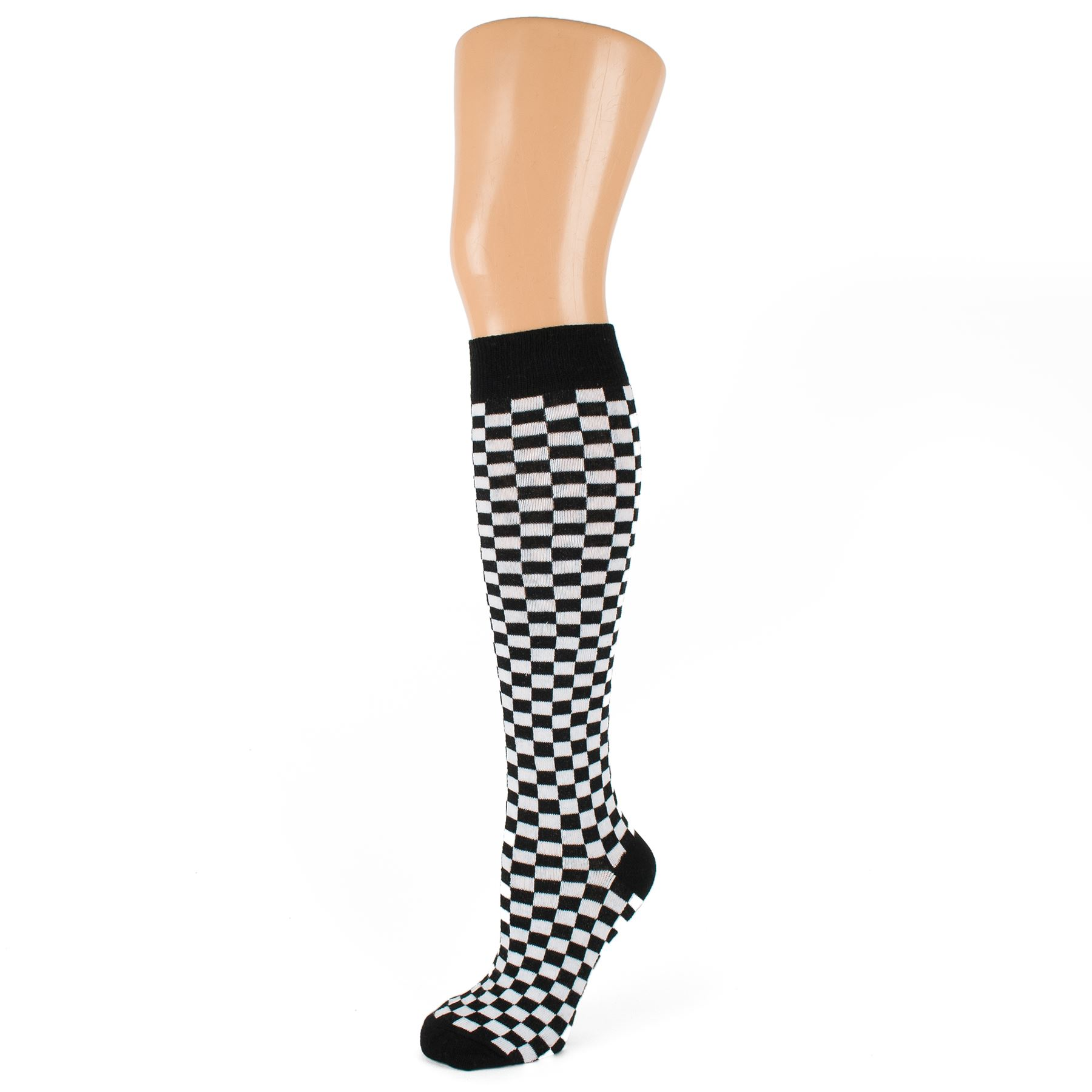 Checkered socks are bright and beautiful, with inch wide checks from ankle to knee, with a solid colored cushioned foot. Our Checkered socks are comfortable, durable, and machine-washable, making it easy to put together a clown outfit or everyday clothes. Patterned socks are less stretchy in the calf than solids or stripes.