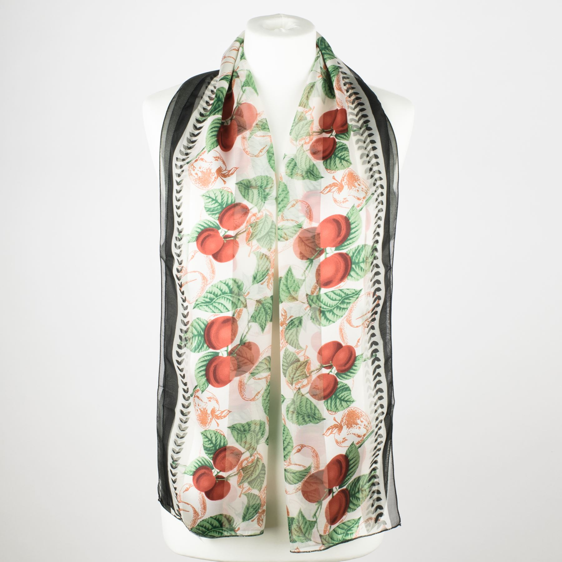 Ladies-Satin-Chiffon-Neck-Scarf-with-Fruit-Print thumbnail 3