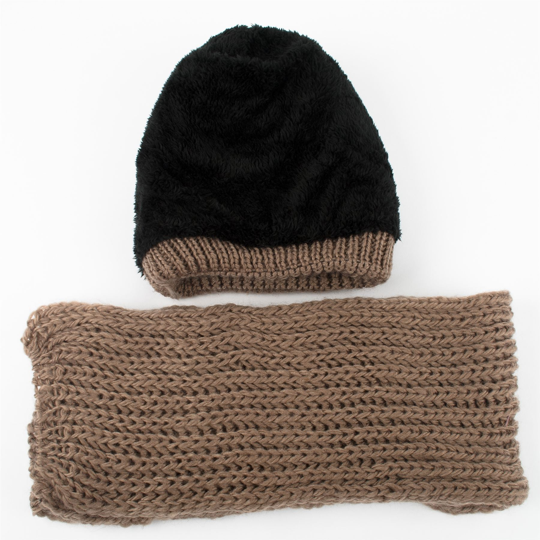 269b4287460 Winter Chunky Knit Beanie Hat with Fleece Lining   Scarf Set with ...