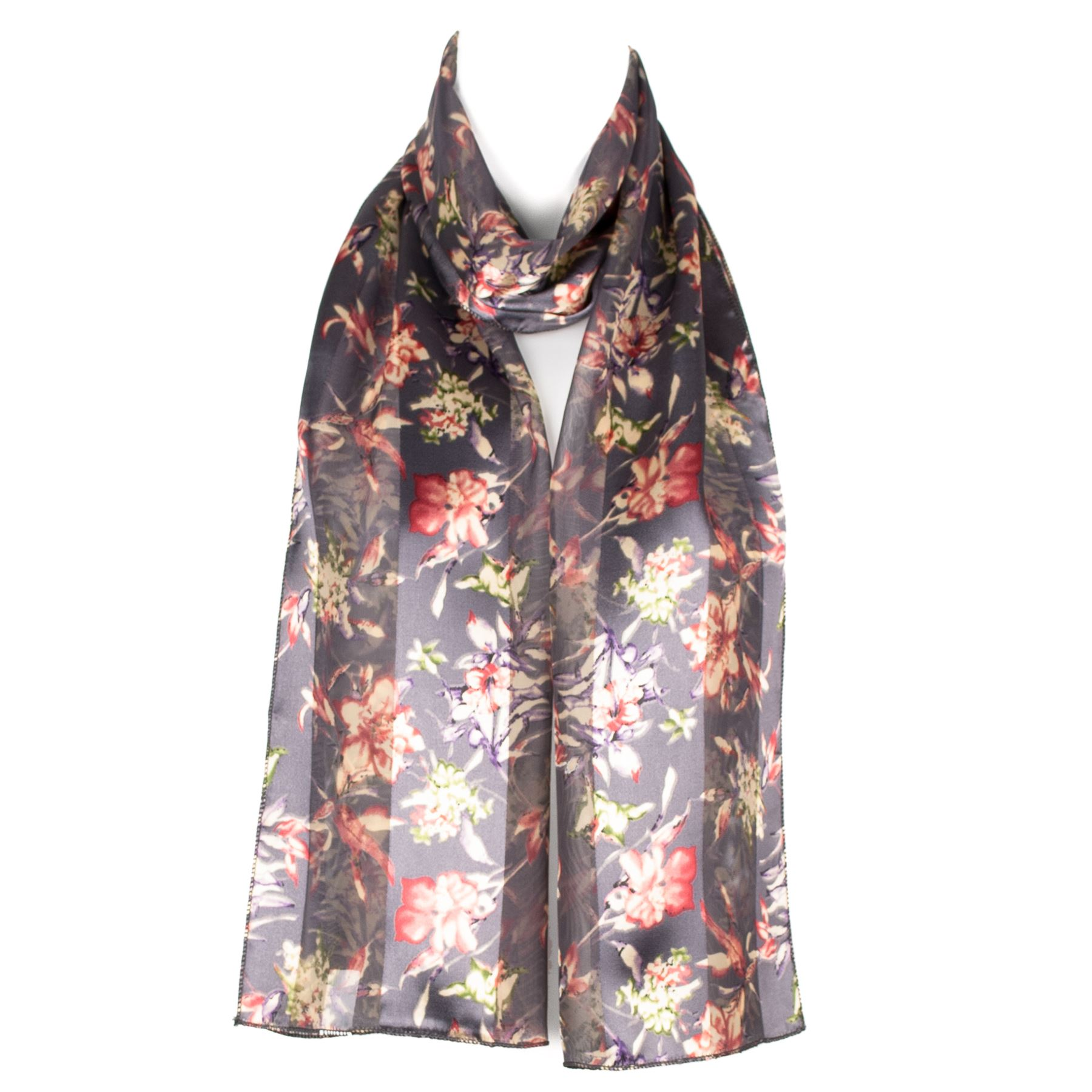 womens chiffon satin flower design scarf shawl ebay