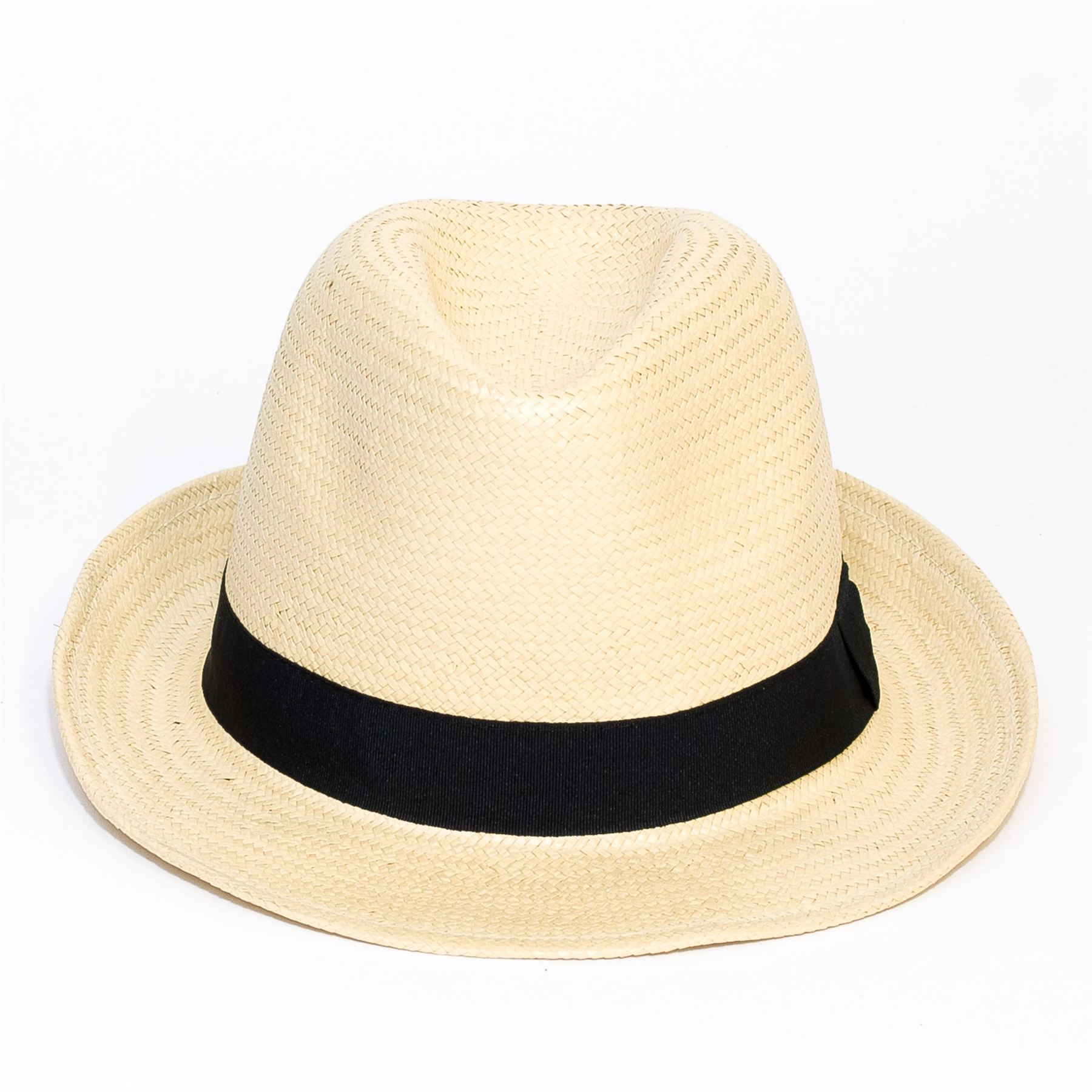 Woven-Straw-Style-Beige-Trilby-Hat thumbnail 5