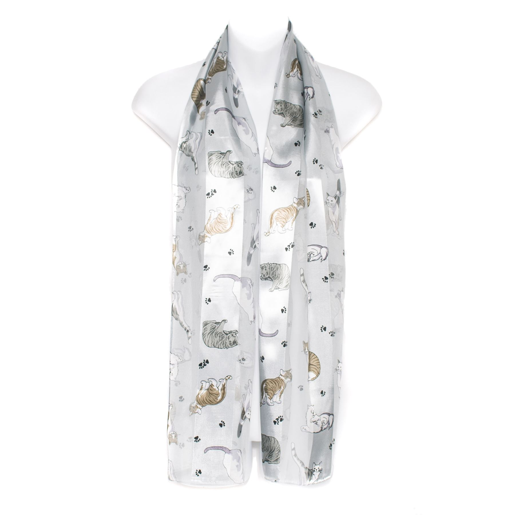 Cat-Breed-Paw-Print-Chiffon-Satin-Ladies-Scarf thumbnail 9
