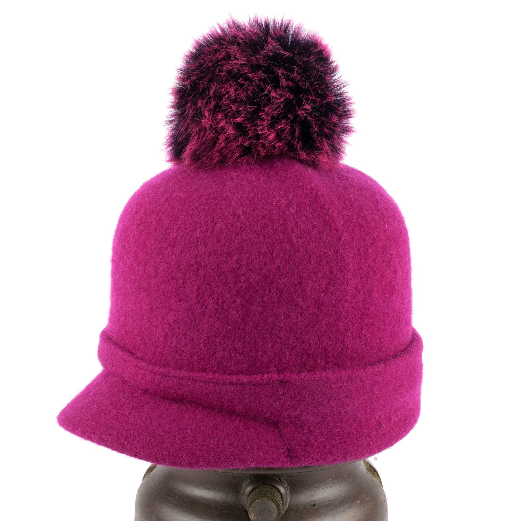 ZAKIRA-Femmes-Bonnet-Chapeau-100-Laine-avec-Pompom