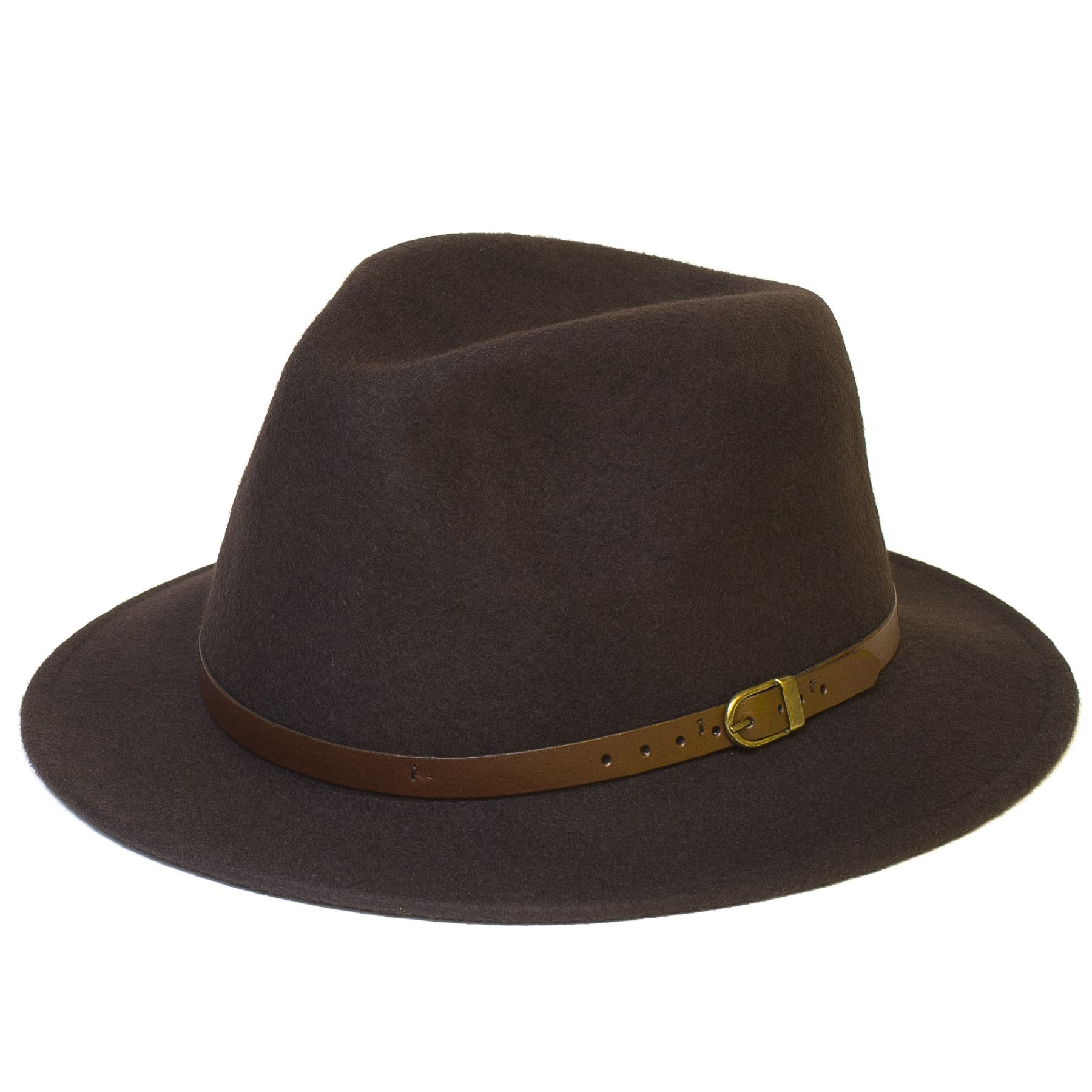 Wool Fedora Felt Trilby Hat With Faux-Leather Belt