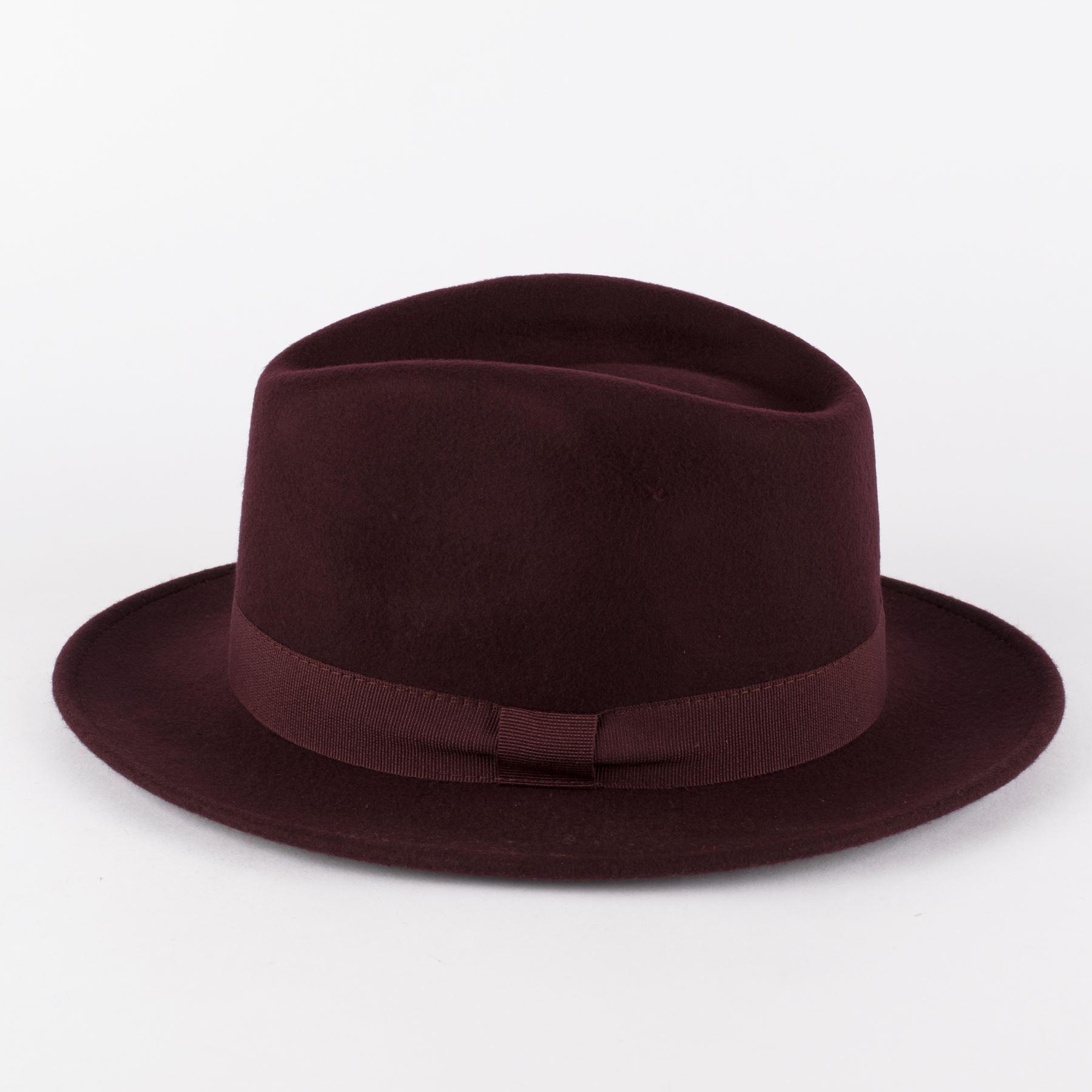 100/% Wool Felt Fedora Hat with Grosgrain Band Handmade in Italy