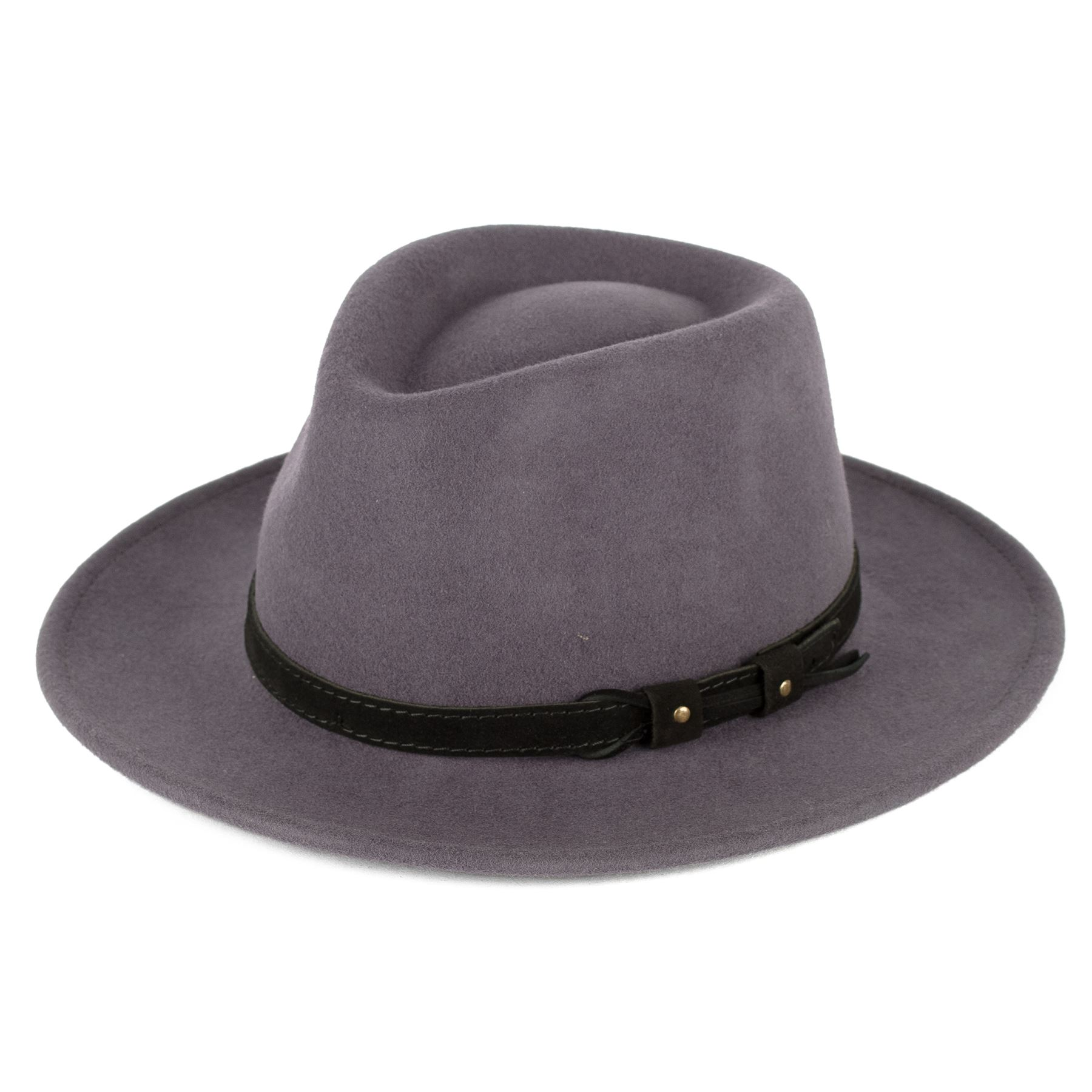 Wool Fedora Hat With Leather Belt Waterproof   Crushable Handmade in ... 8a4fb890757