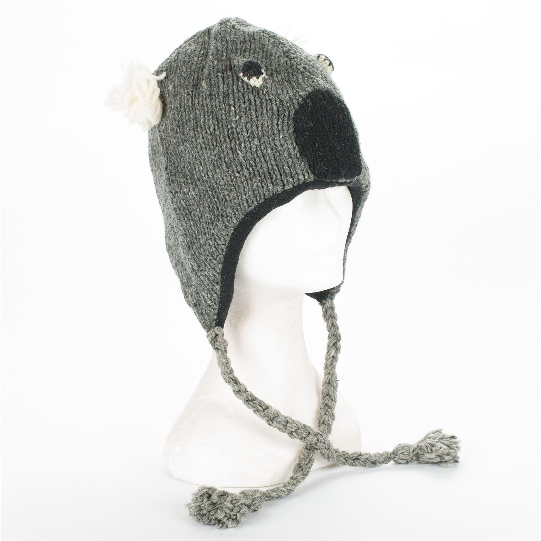 Handmade Knit 100 Wool Unisex Animal Winter Nepal Hat
