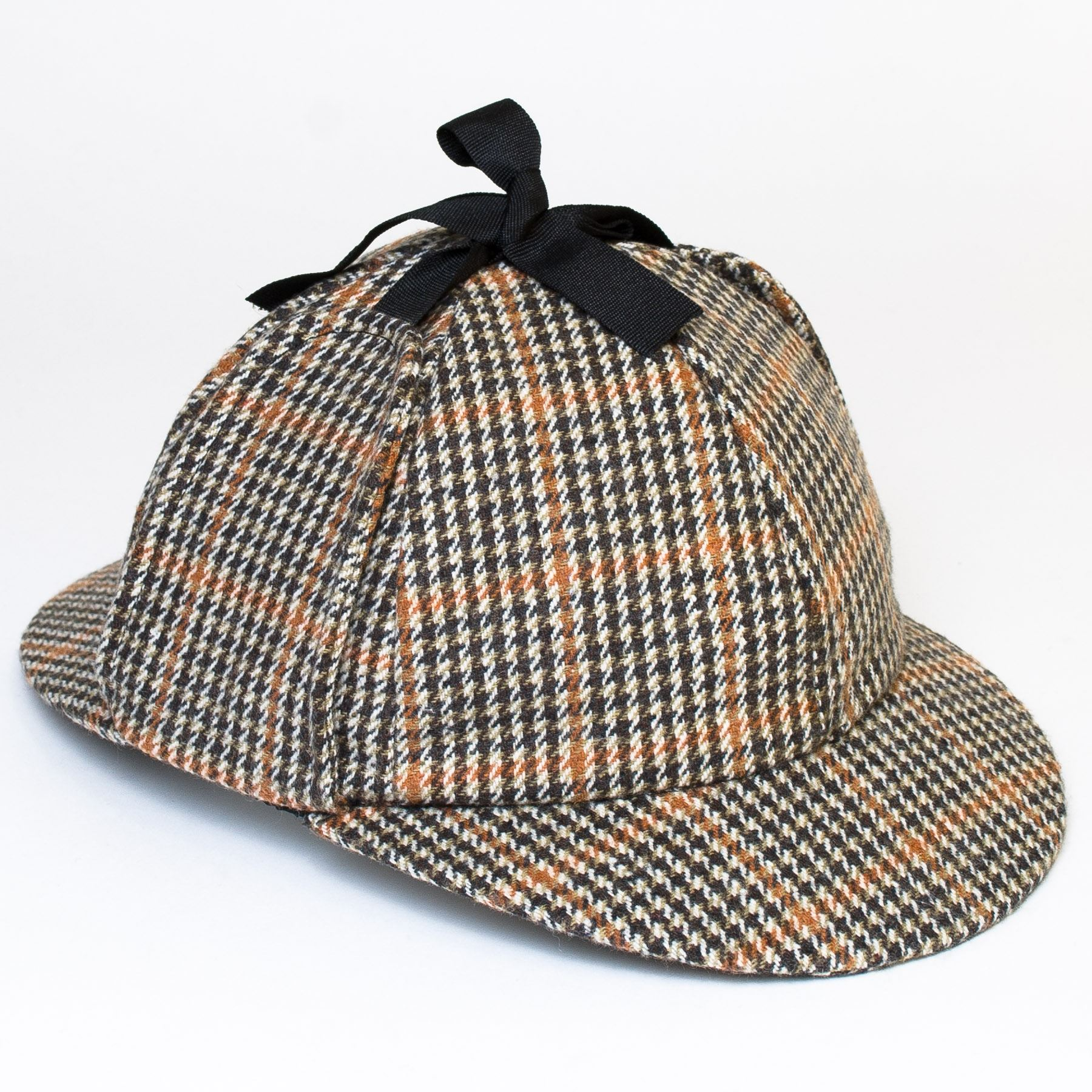 Wool Blend Sherlock Holmes Style Hat with Black Ribbon