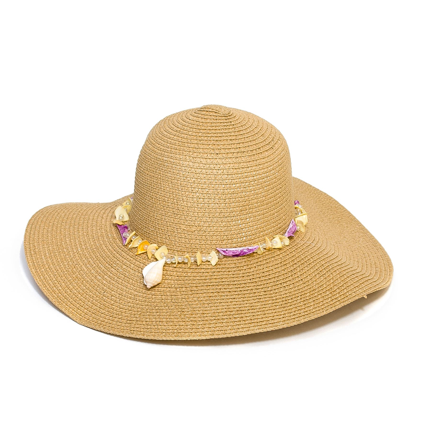 Summer Straw Style Floppy Hat with Beads and Shells | eBay