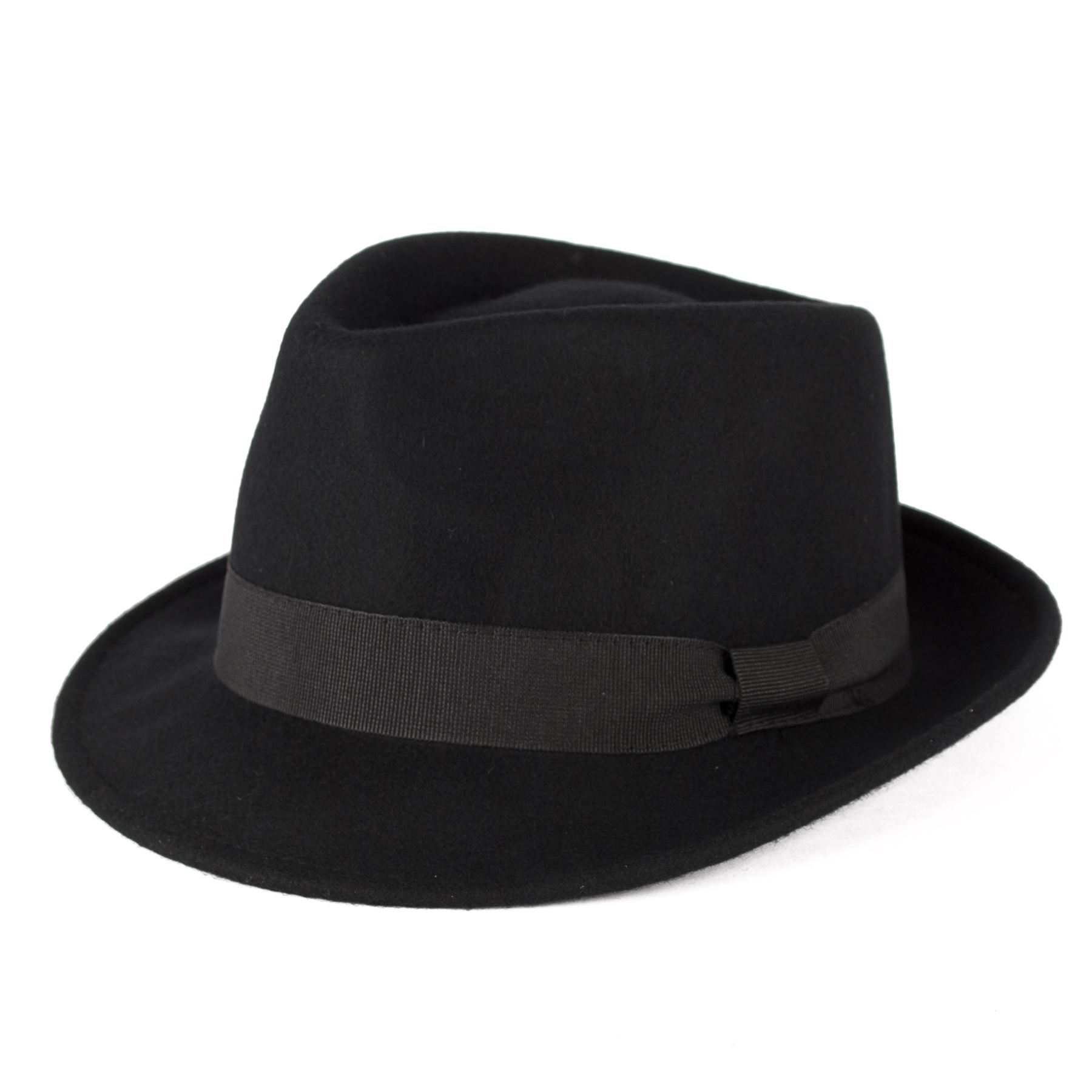 58efd1375d6502 100 Wool Trilby Hat With Grosgrain Band Handmade in Italy Black L ...