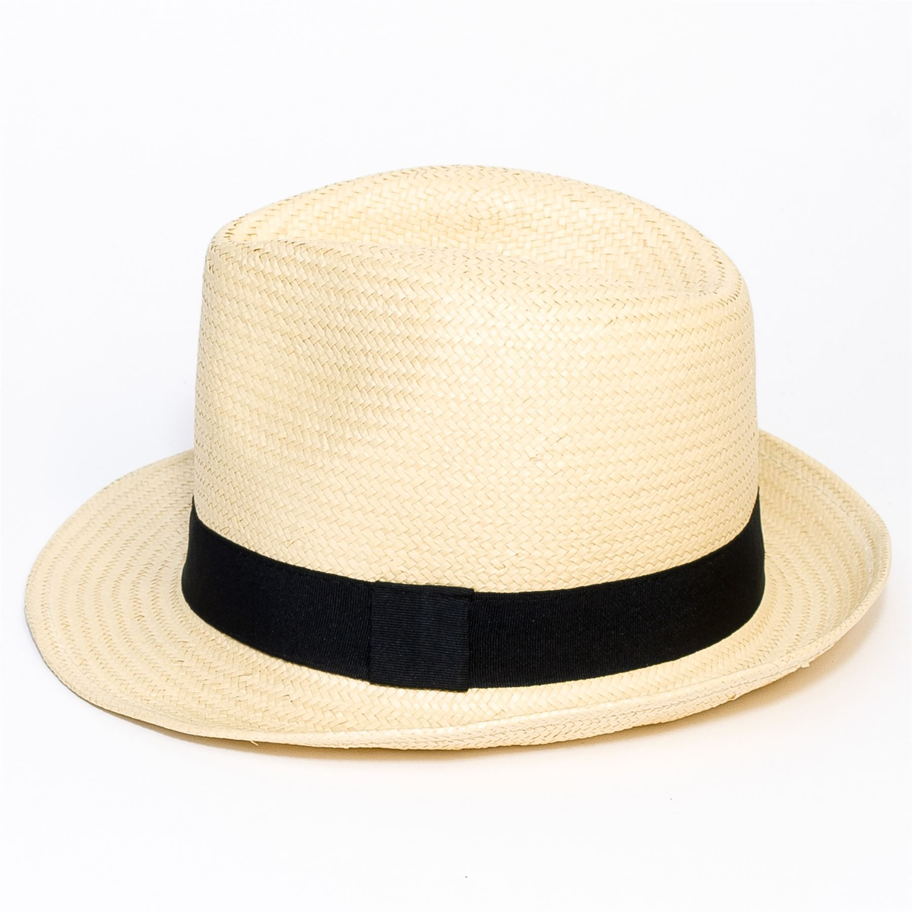 Woven-Straw-Style-Beige-Trilby-Hat thumbnail 6