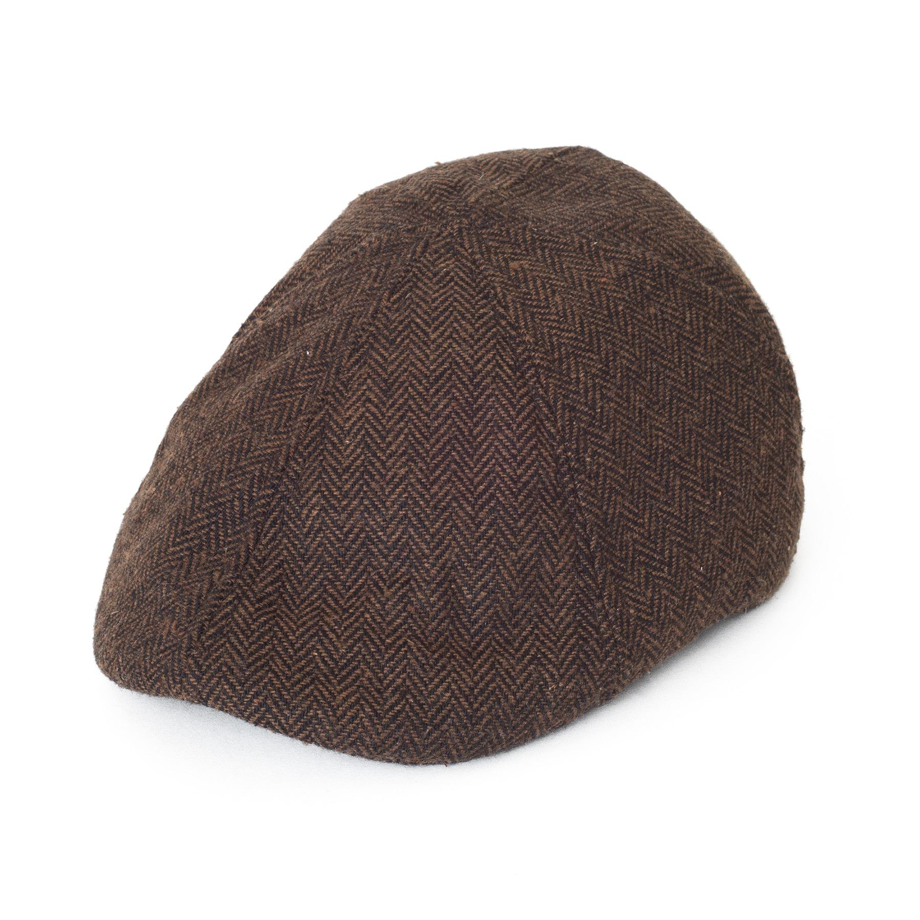 08e1eba207f 6-Panel Wool Blend Duckbill Flat Cap with Herringbone Pattern
