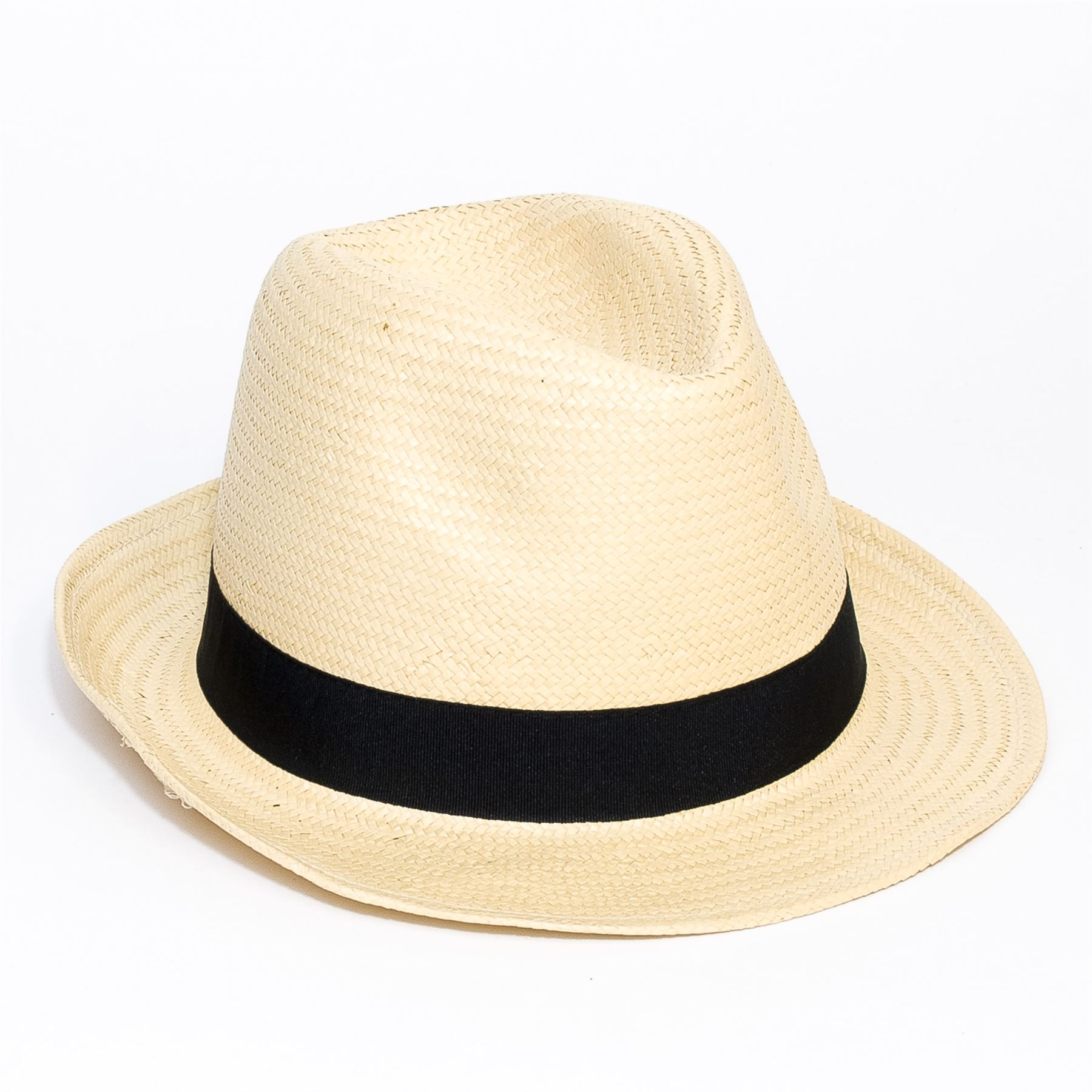 Woven-Straw-Style-Beige-Trilby-Hat thumbnail 4